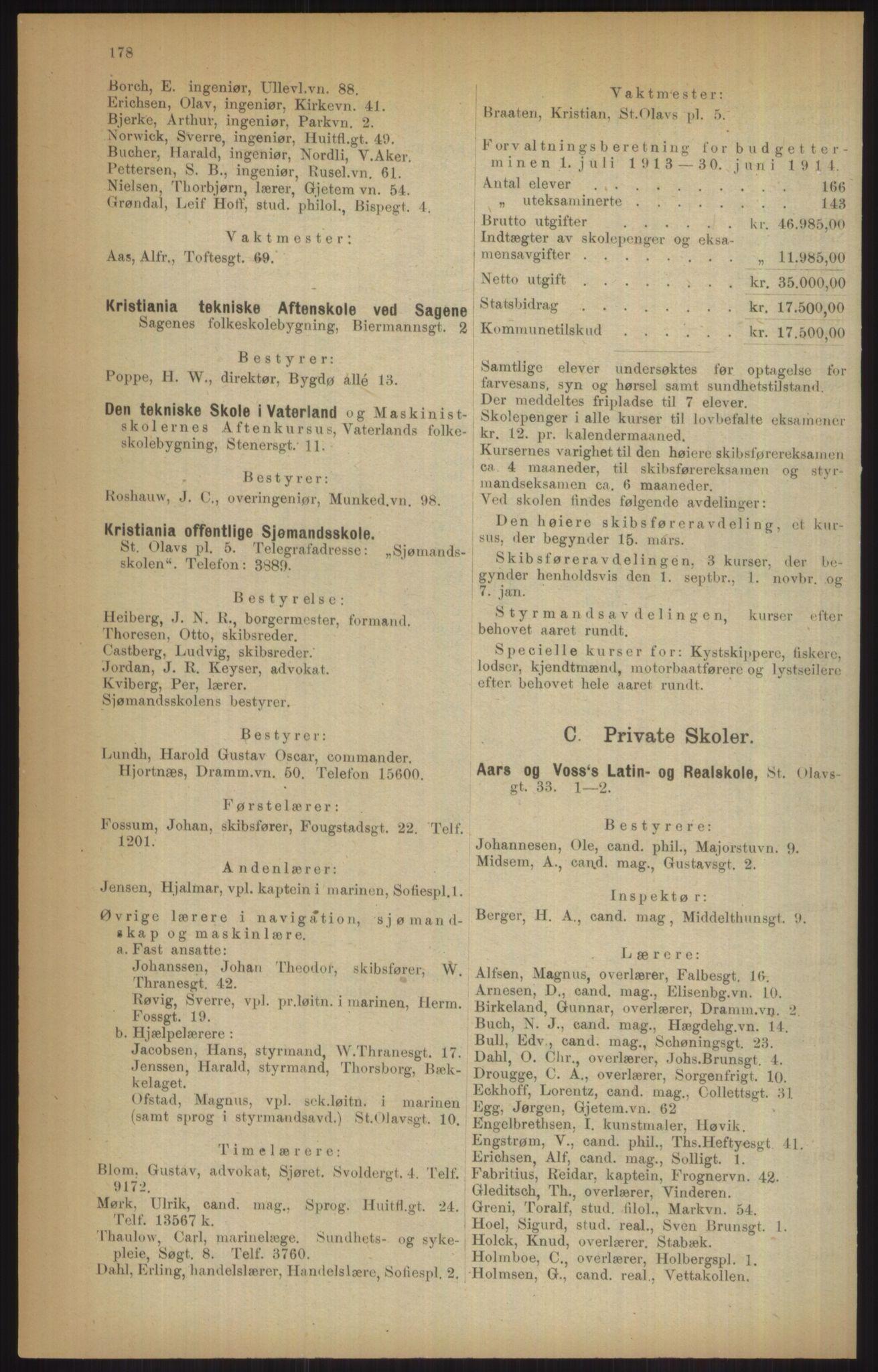 RA, Kristiania adressebok (publikasjon)*, 1915, s. 178