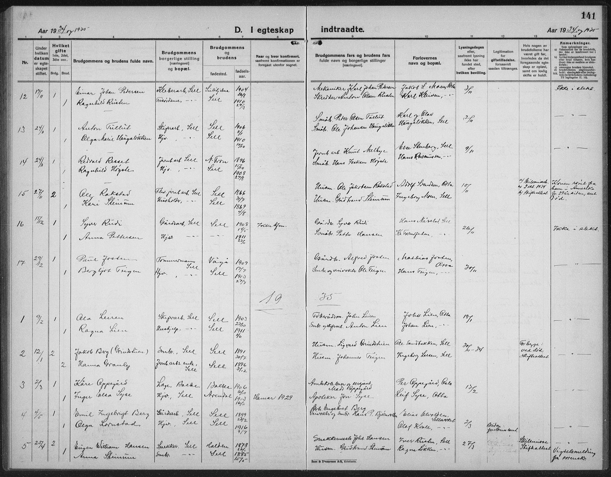 SAH, Sel prestekontor, Klokkerbok nr. 2, 1923-1939, s. 141