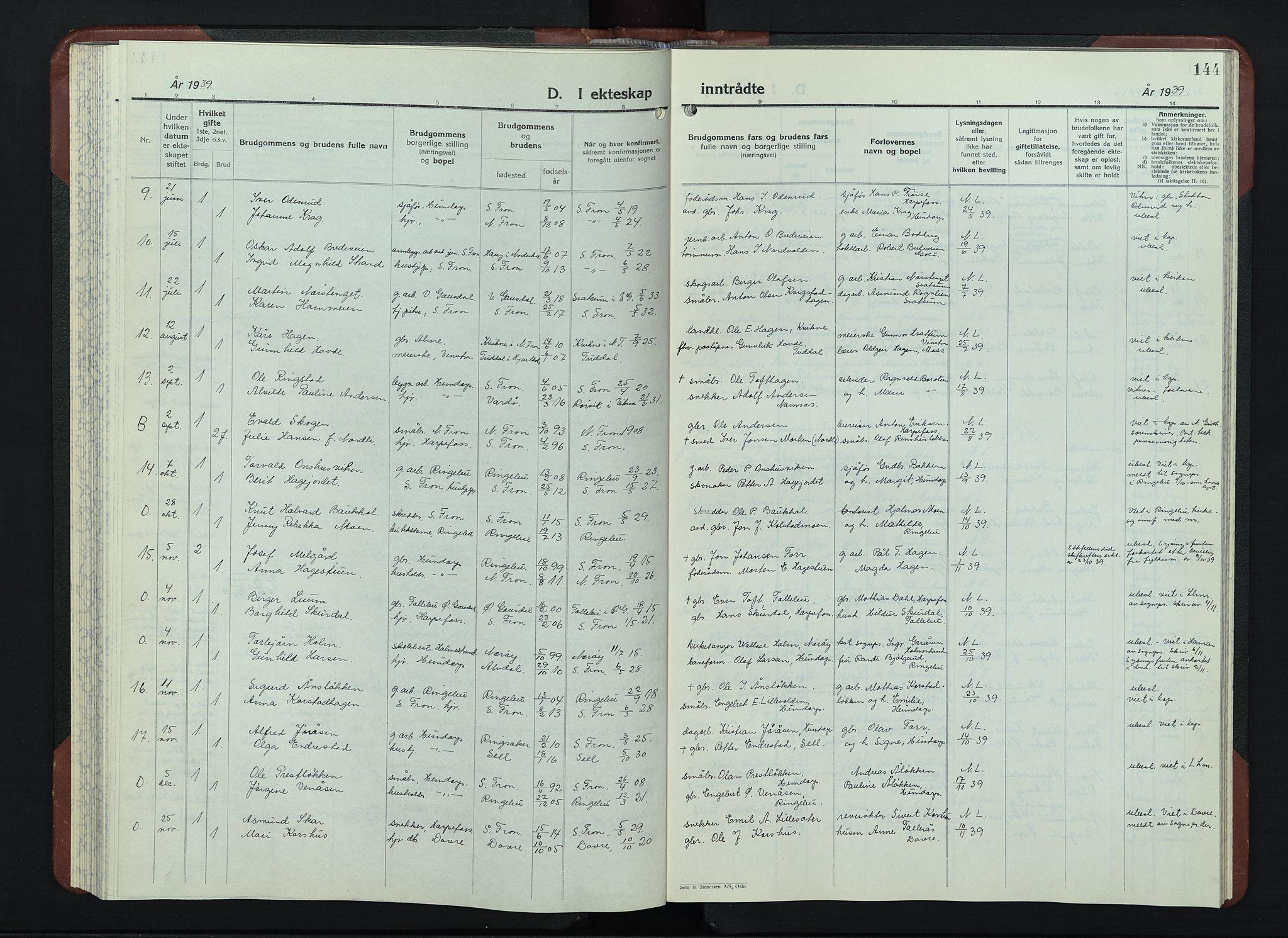 SAH, Sør-Fron prestekontor, H/Ha/Hab/L0006: Klokkerbok nr. 6, 1933-1948, s. 144