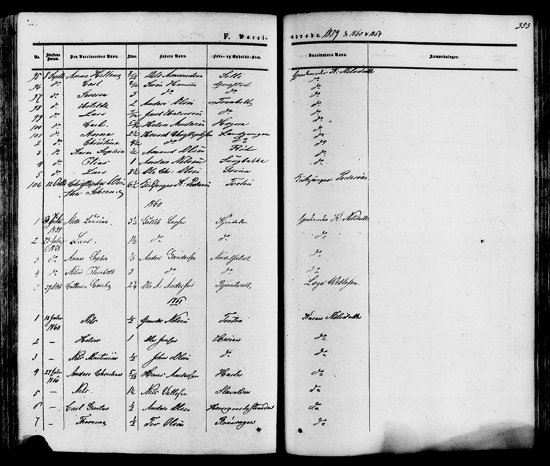 SAKO, Eidanger kirkebøker, F/Fa/L0010: Ministerialbok nr. 10, 1859-1874, s. 353