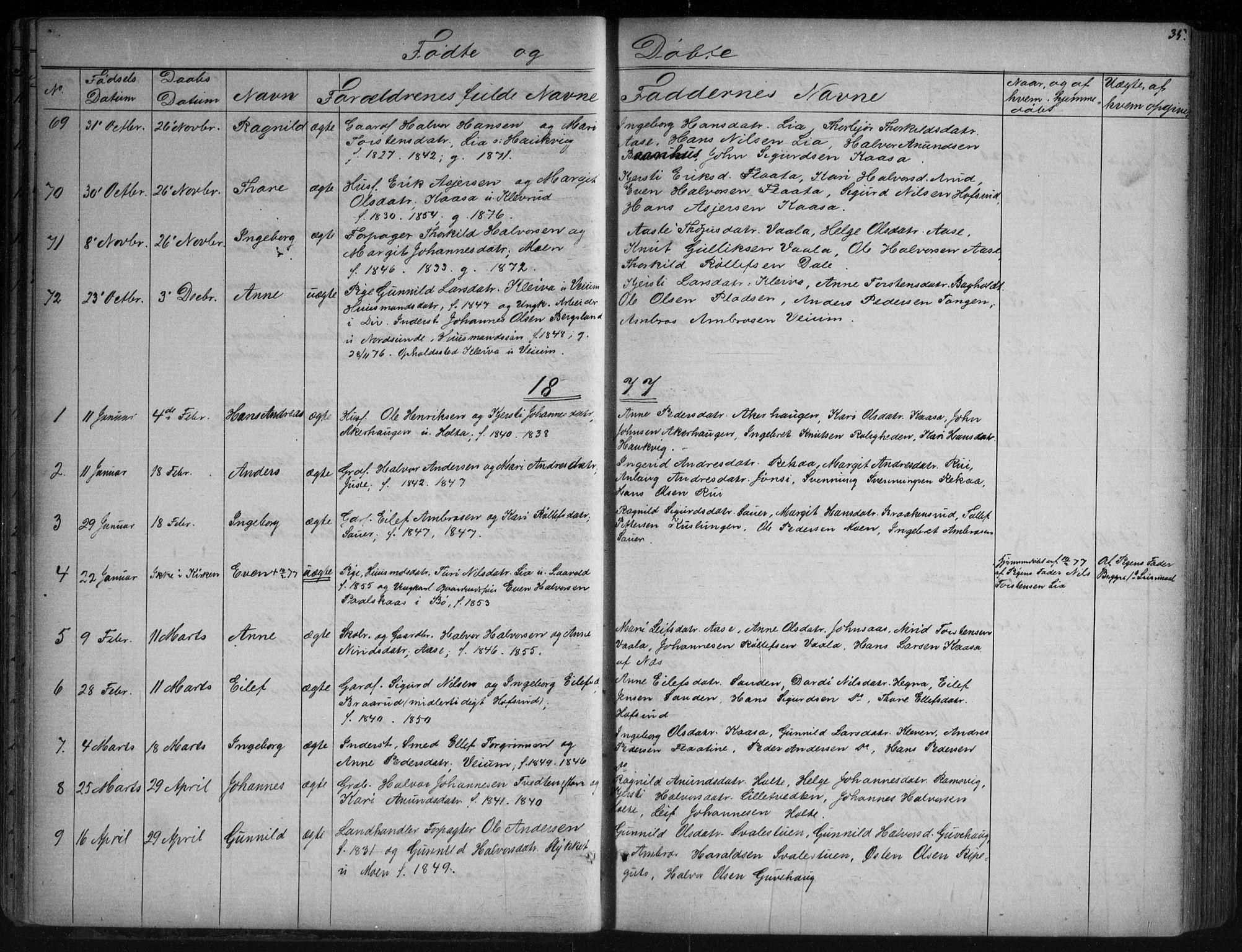 SAKO, Sauherad kirkebøker, G/Ga/L0003: Klokkerbok nr. I 3, 1866-1905, s. 35