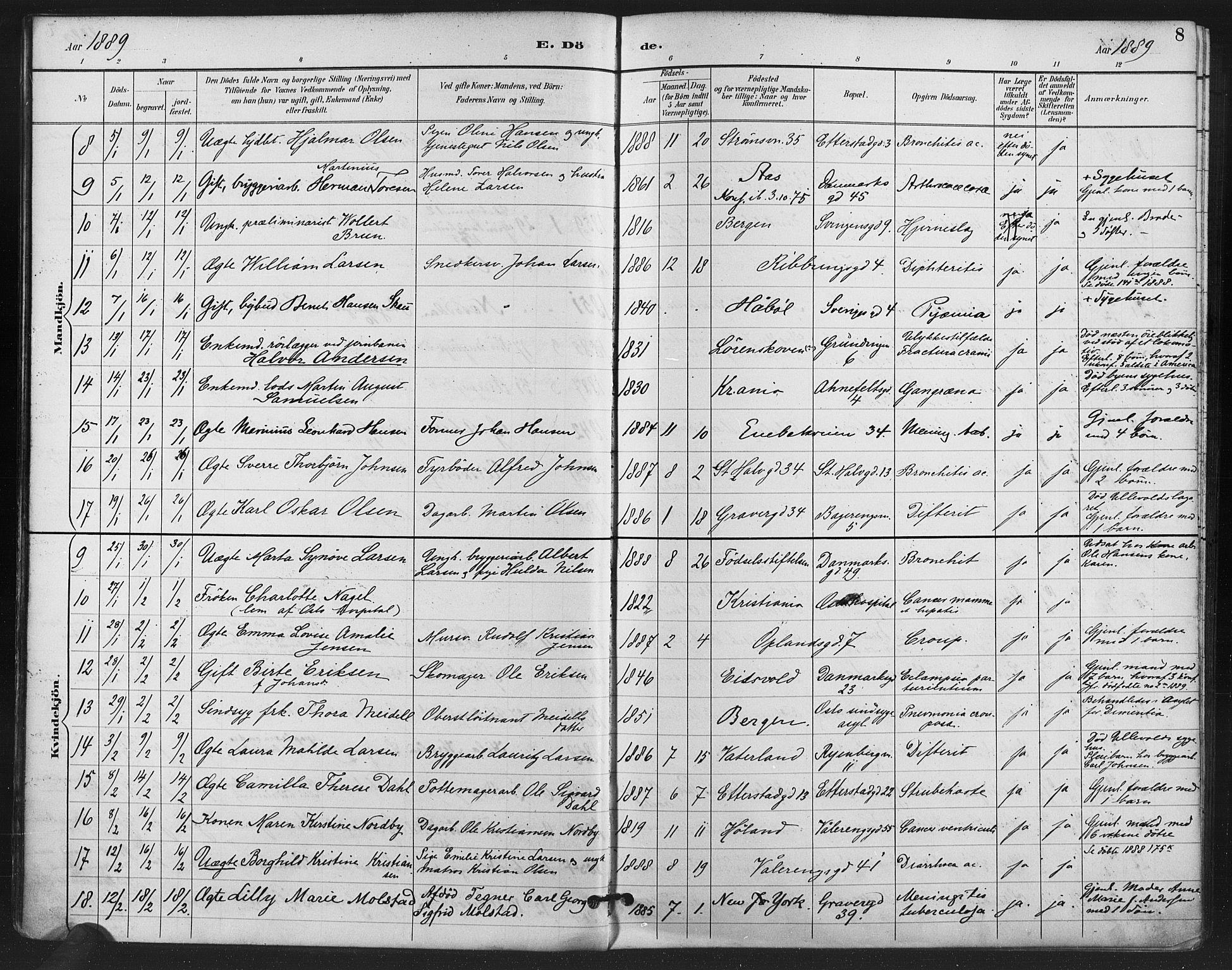 SAO, Gamlebyen prestekontor Kirkebøker, F/Fa/L0009: Ministerialbok nr. 9, 1888-1909, s. 8