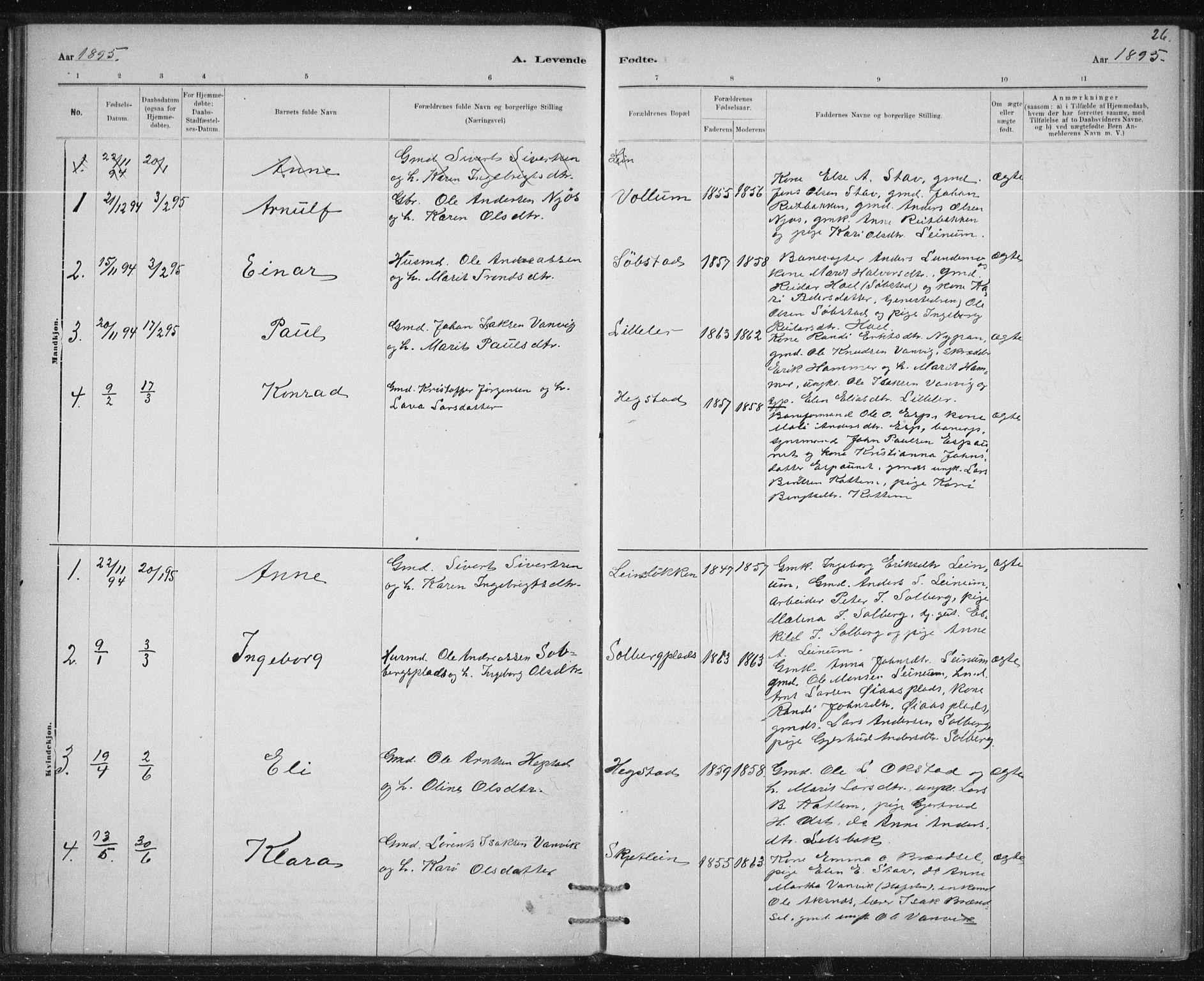 SAT, Ministerialprotokoller, klokkerbøker og fødselsregistre - Sør-Trøndelag, 613/L0392: Ministerialbok nr. 613A01, 1887-1906, s. 26
