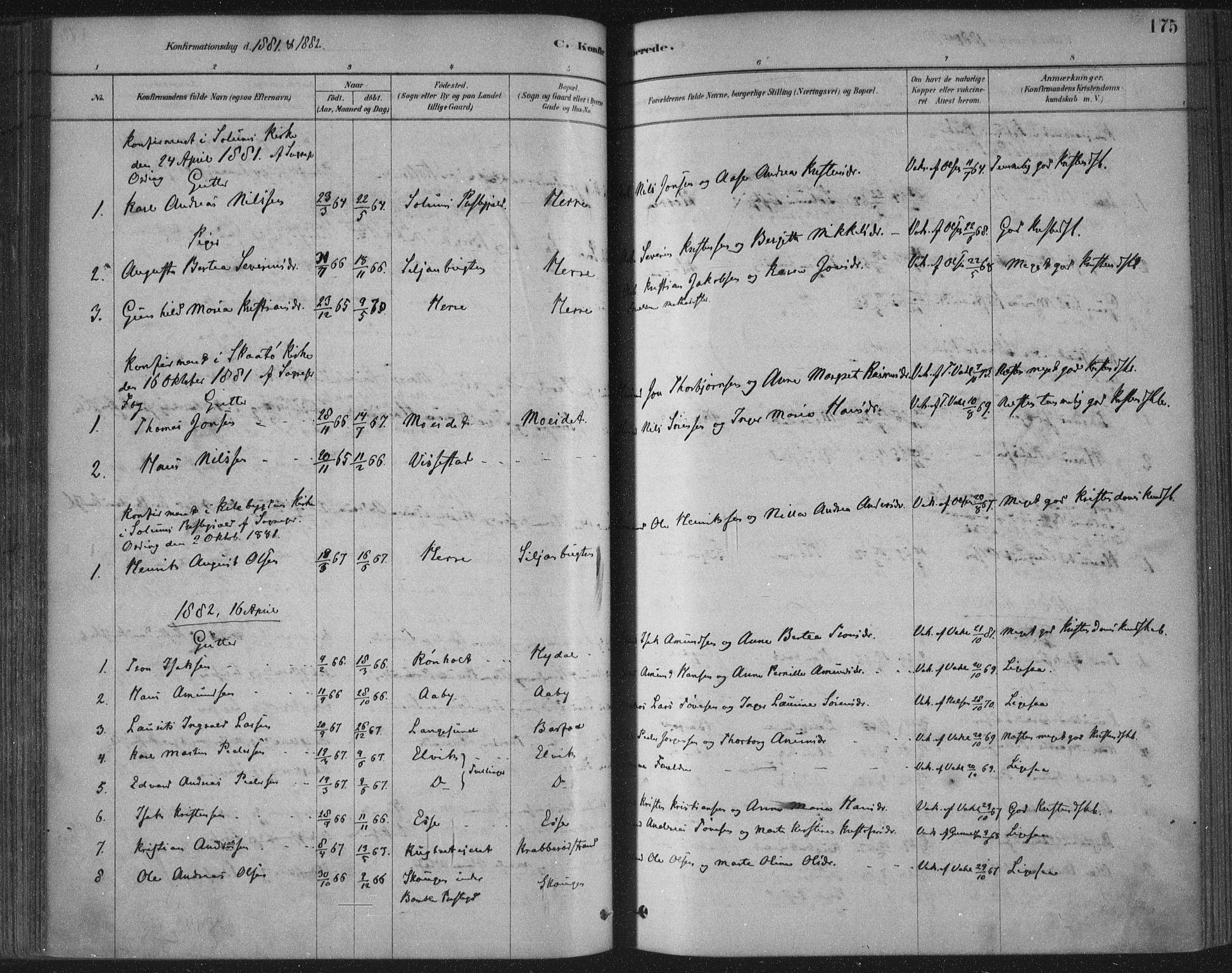 SAKO, Bamble kirkebøker, F/Fa/L0007: Ministerialbok nr. I 7, 1878-1888, s. 175