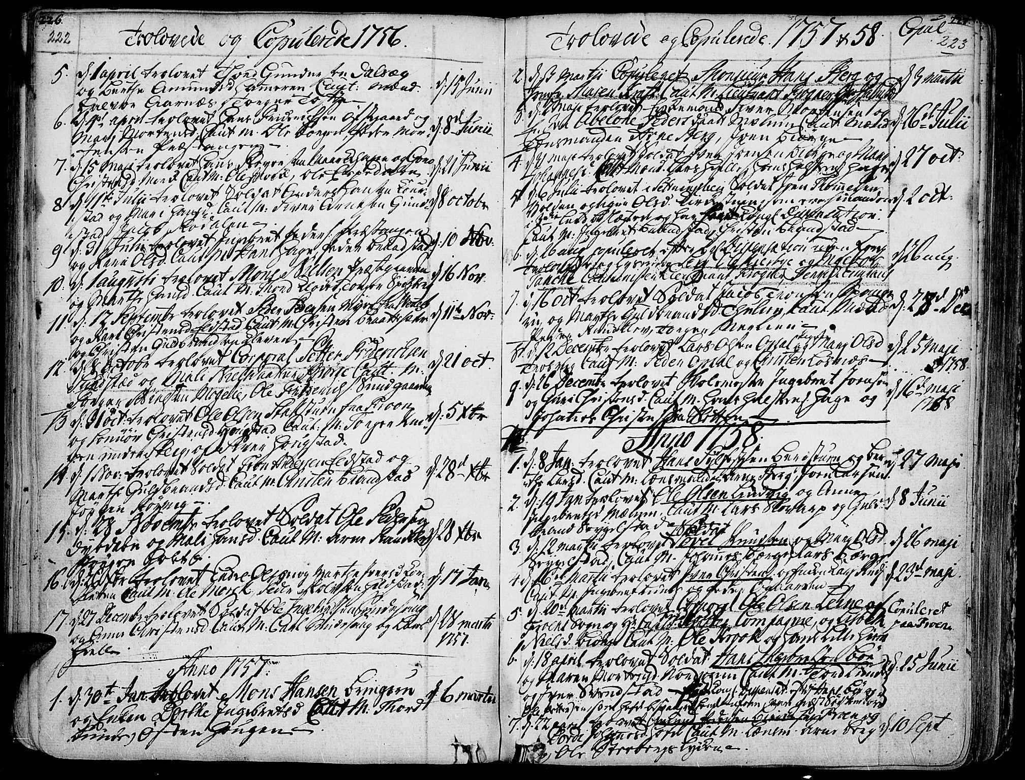 SAH, Ringebu prestekontor, Ministerialbok nr. 2, 1734-1780, s. 222-223