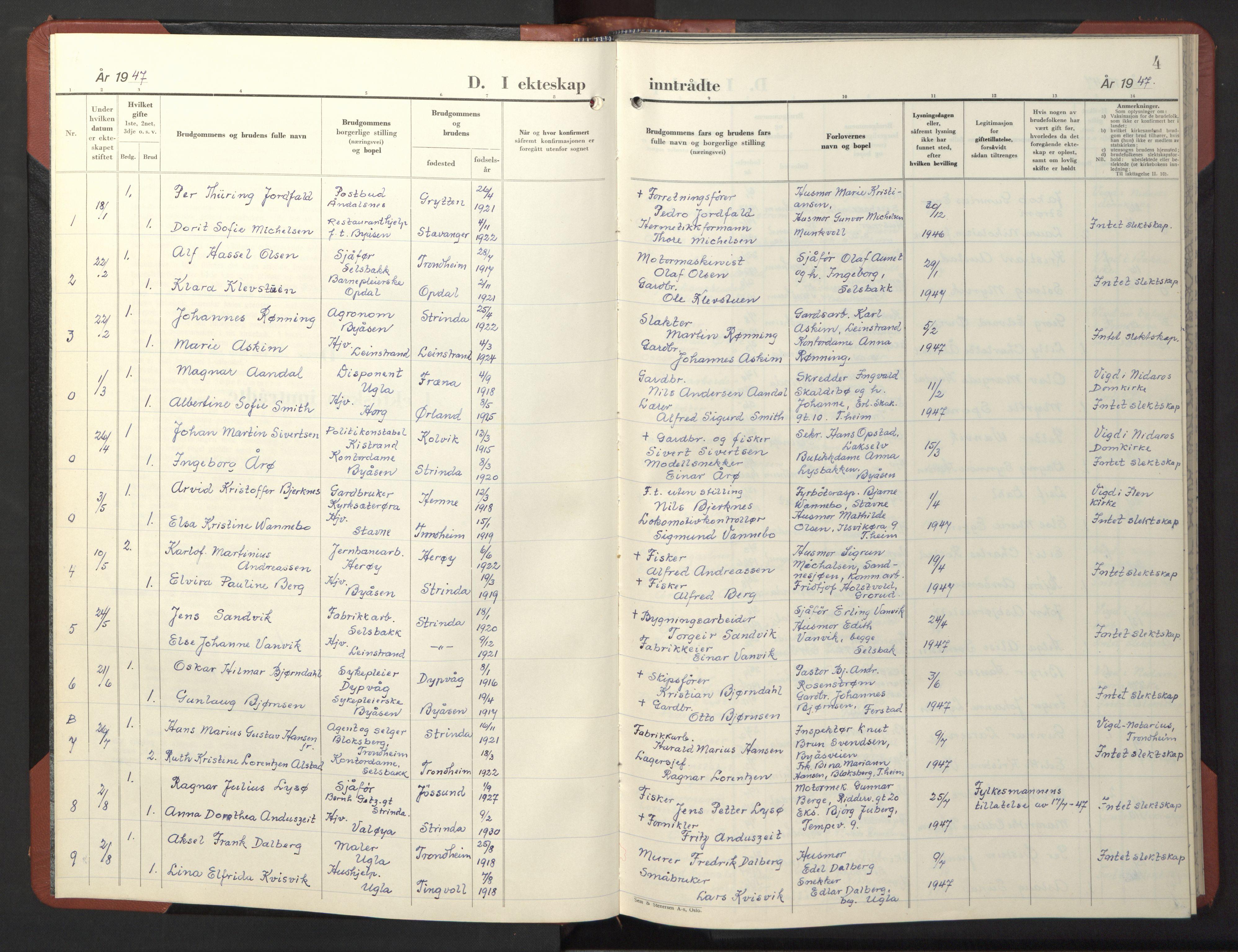 SAT, Ministerialprotokoller, klokkerbøker og fødselsregistre - Sør-Trøndelag, 611/L0359: Klokkerbok nr. 611C07, 1947-1950, s. 4
