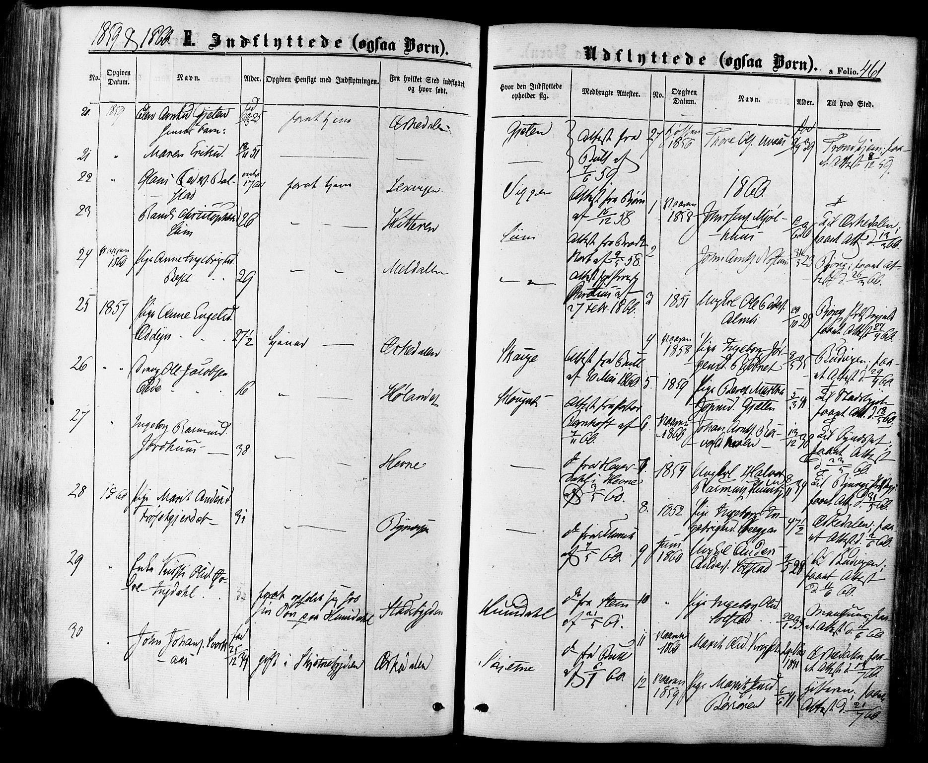 SAT, Ministerialprotokoller, klokkerbøker og fødselsregistre - Sør-Trøndelag, 665/L0772: Ministerialbok nr. 665A07, 1856-1878, s. 461