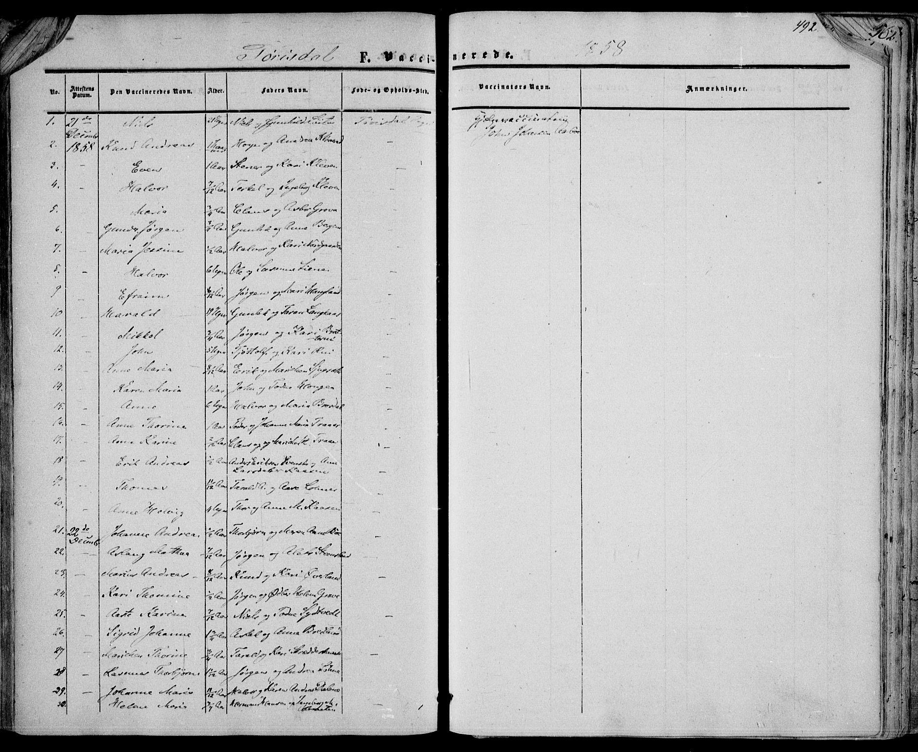 SAKO, Drangedal kirkebøker, F/Fa/L0008: Ministerialbok nr. 8, 1857-1871, s. 492