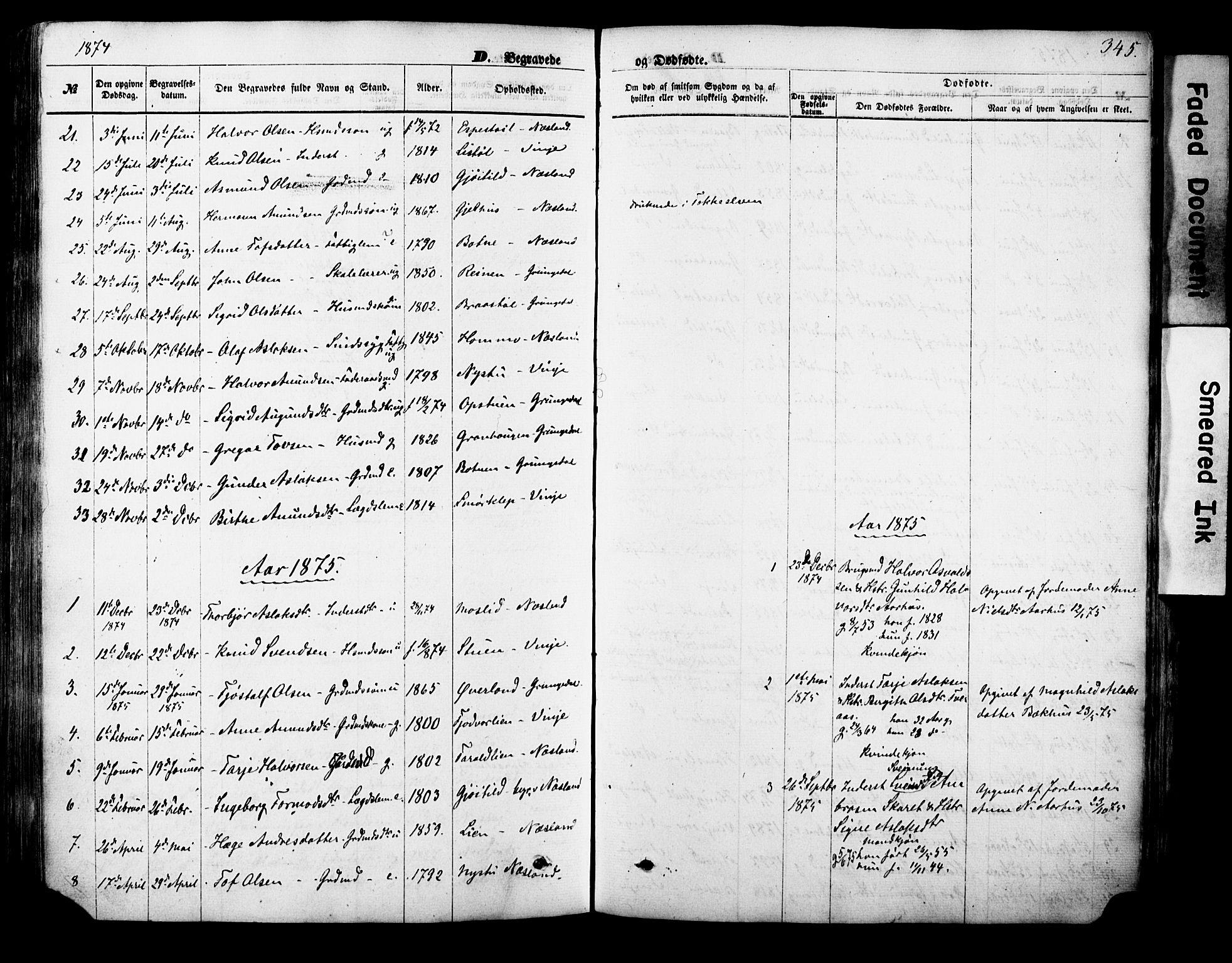SAKO, Vinje kirkebøker, F/Fa/L0005: Ministerialbok nr. I 5, 1870-1886, s. 345