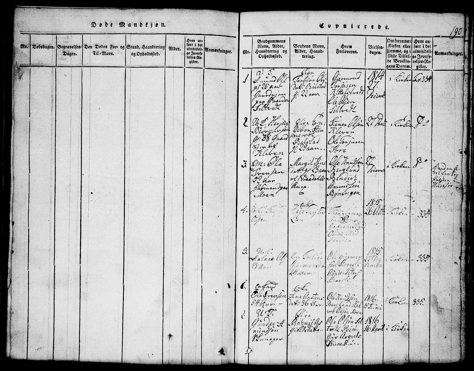 SAKO, Mo kirkebøker, G/Gb/L0001: Klokkerbok nr. II 1, 1814-1843, s. 190
