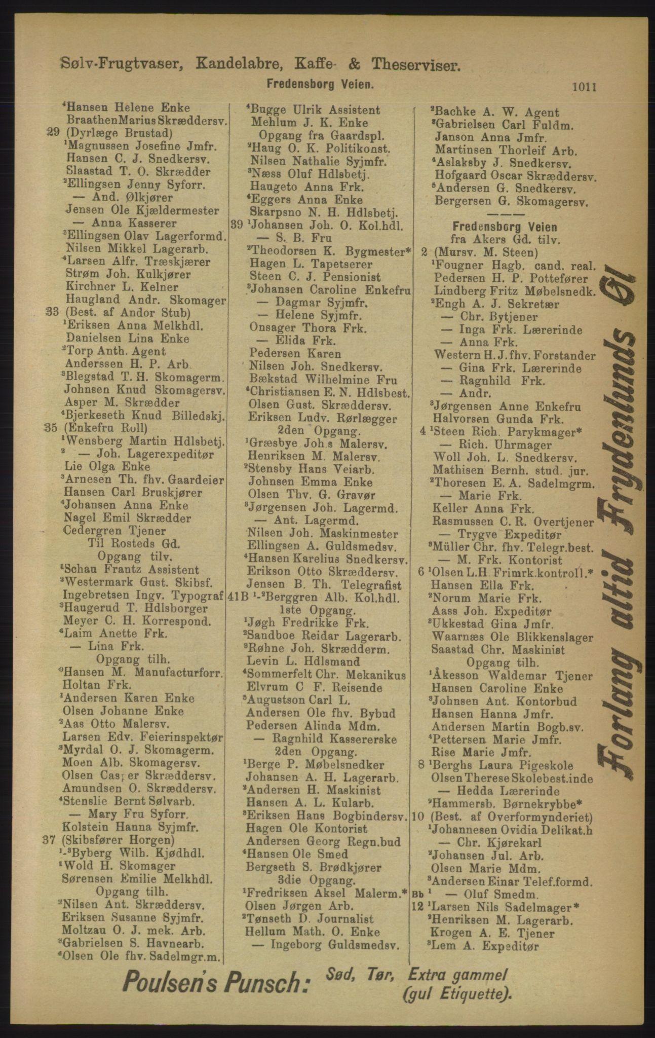RA, Kristiania adressebok (publikasjon)*, 1906, s. 1011