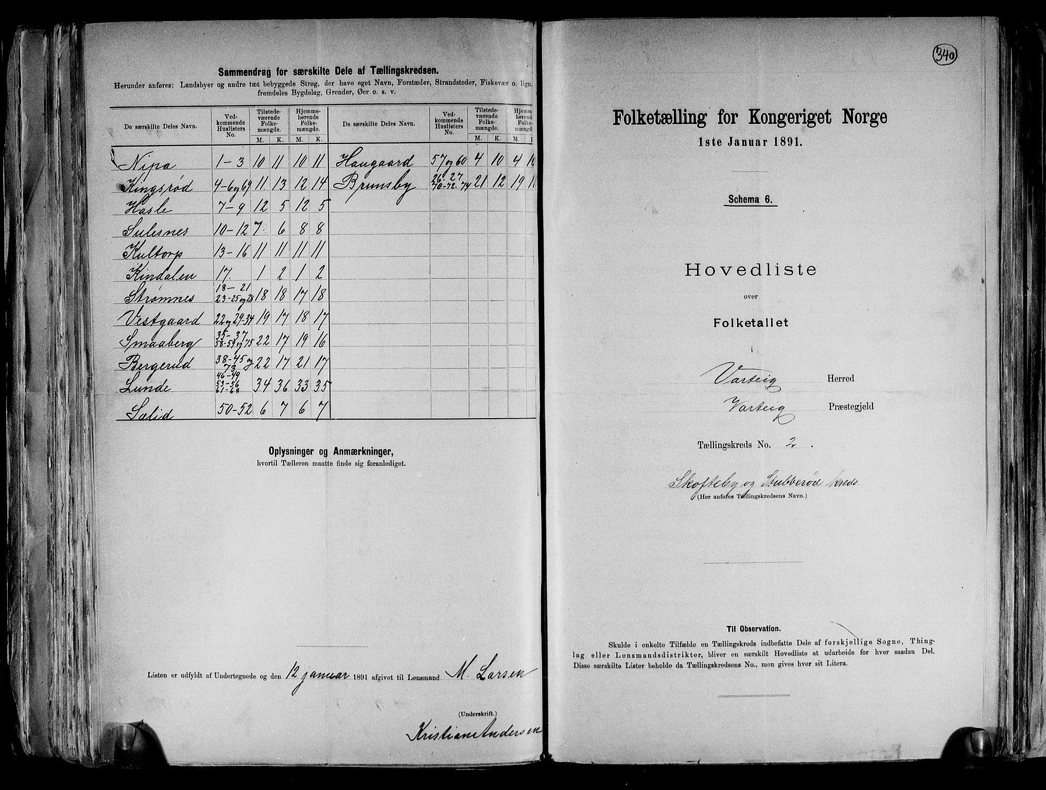 RA, Folketelling 1891 for 0114 Varteig herred, 1891, s. 7
