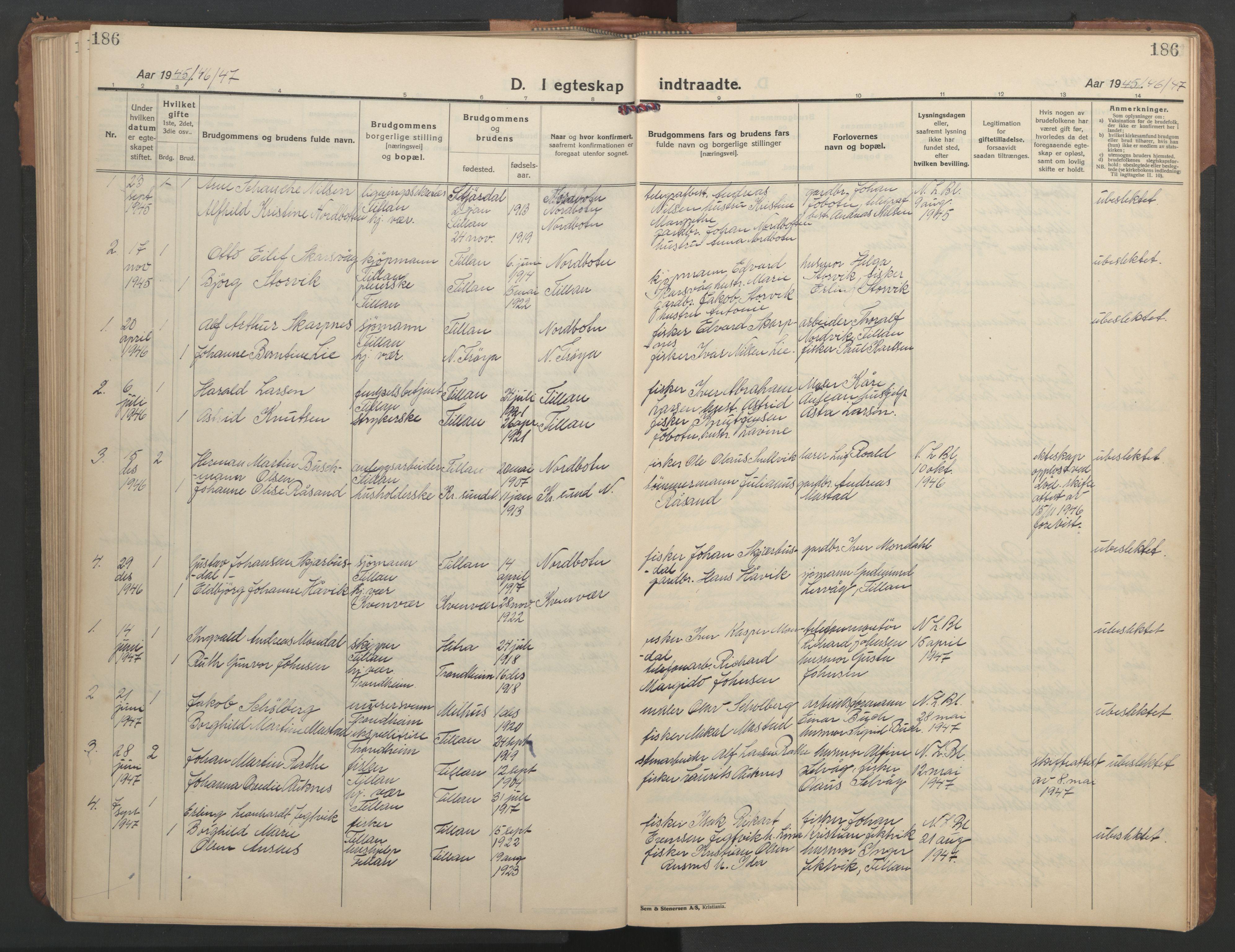 SAT, Ministerialprotokoller, klokkerbøker og fødselsregistre - Sør-Trøndelag, 638/L0569: Klokkerbok nr. 638C01, 1923-1961, s. 186