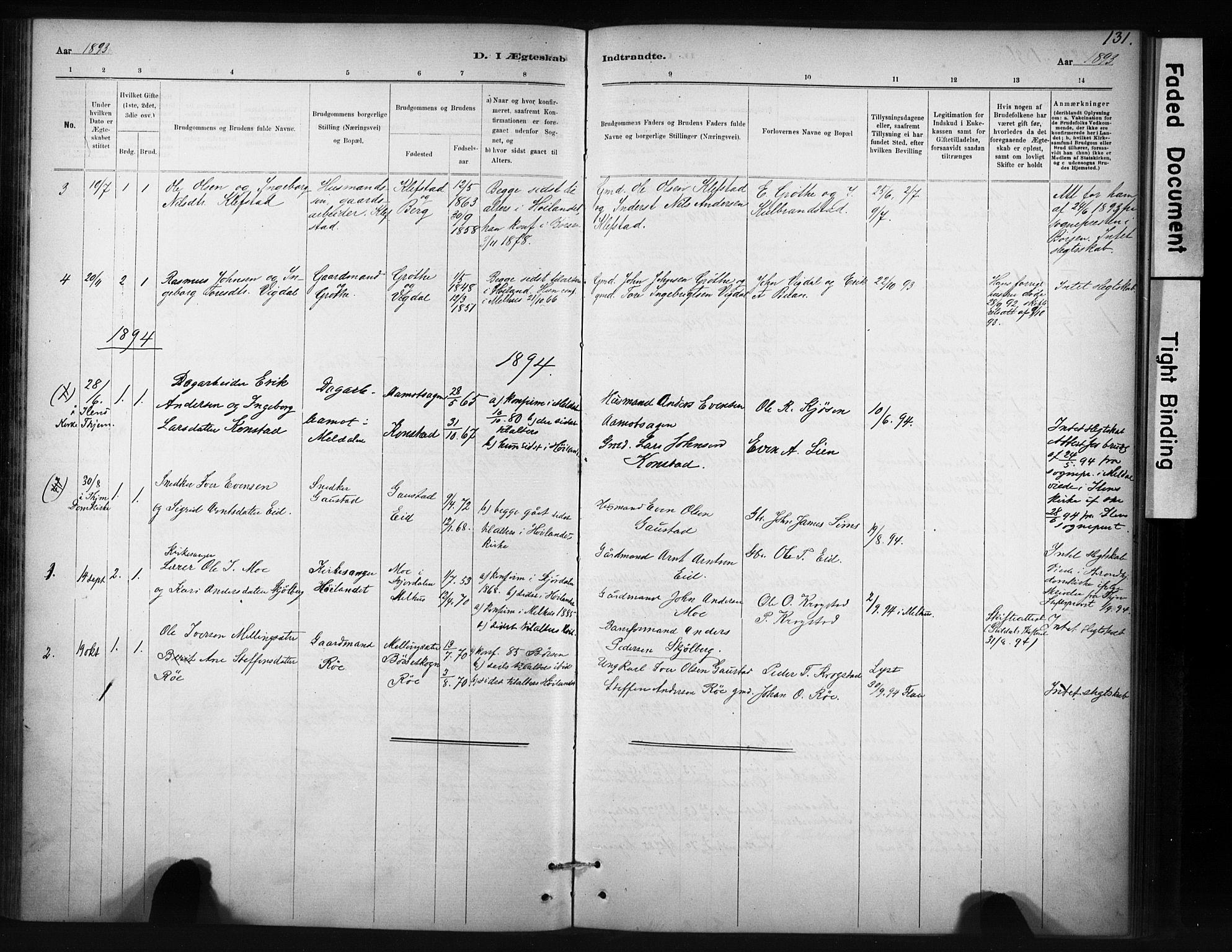 SAT, Ministerialprotokoller, klokkerbøker og fødselsregistre - Sør-Trøndelag, 694/L1127: Ministerialbok nr. 694A01, 1887-1905, s. 131