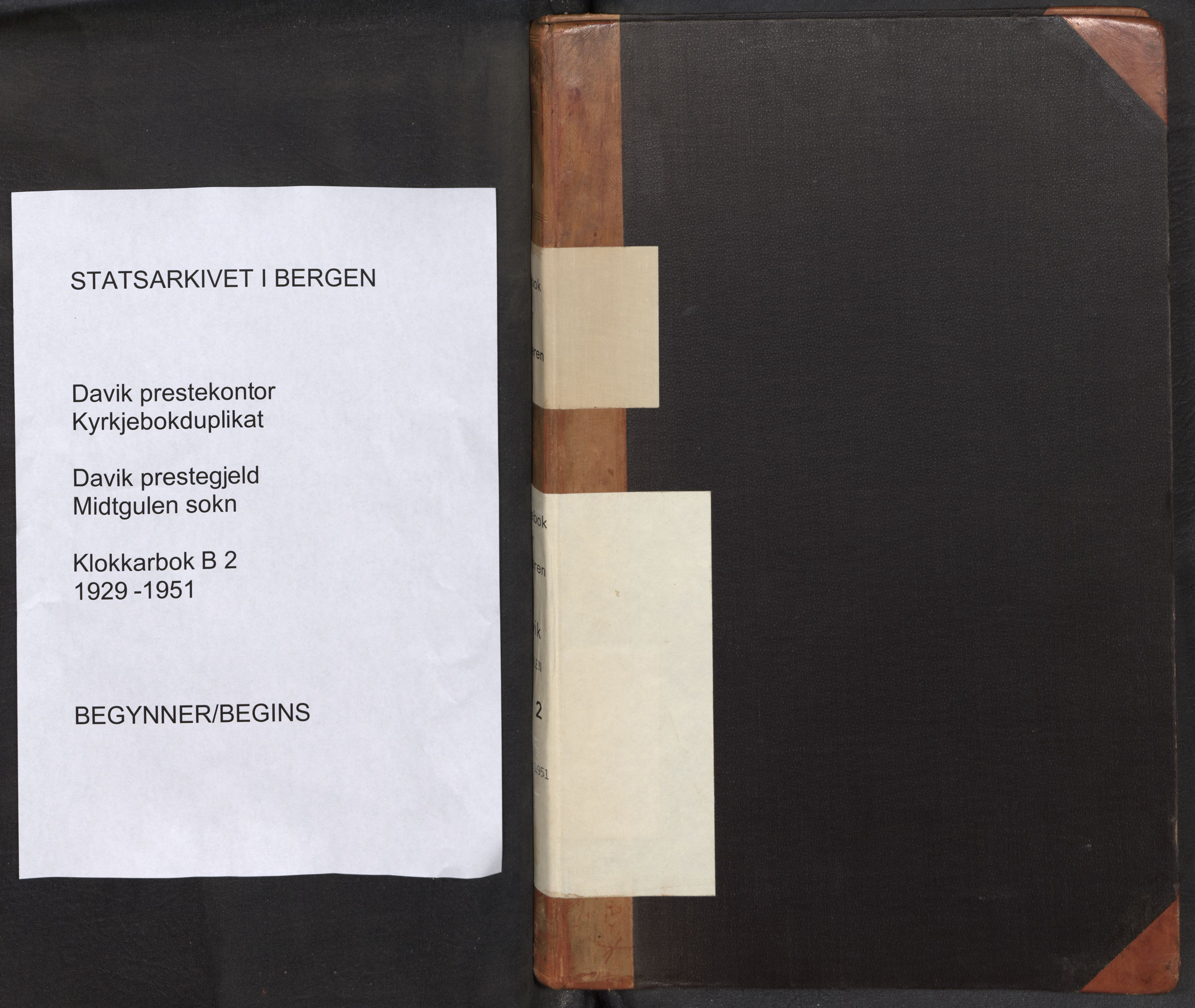 SAB, Bremanger Sokneprestembete, H/Hab: Klokkerbok nr. B 2, 1929-1951
