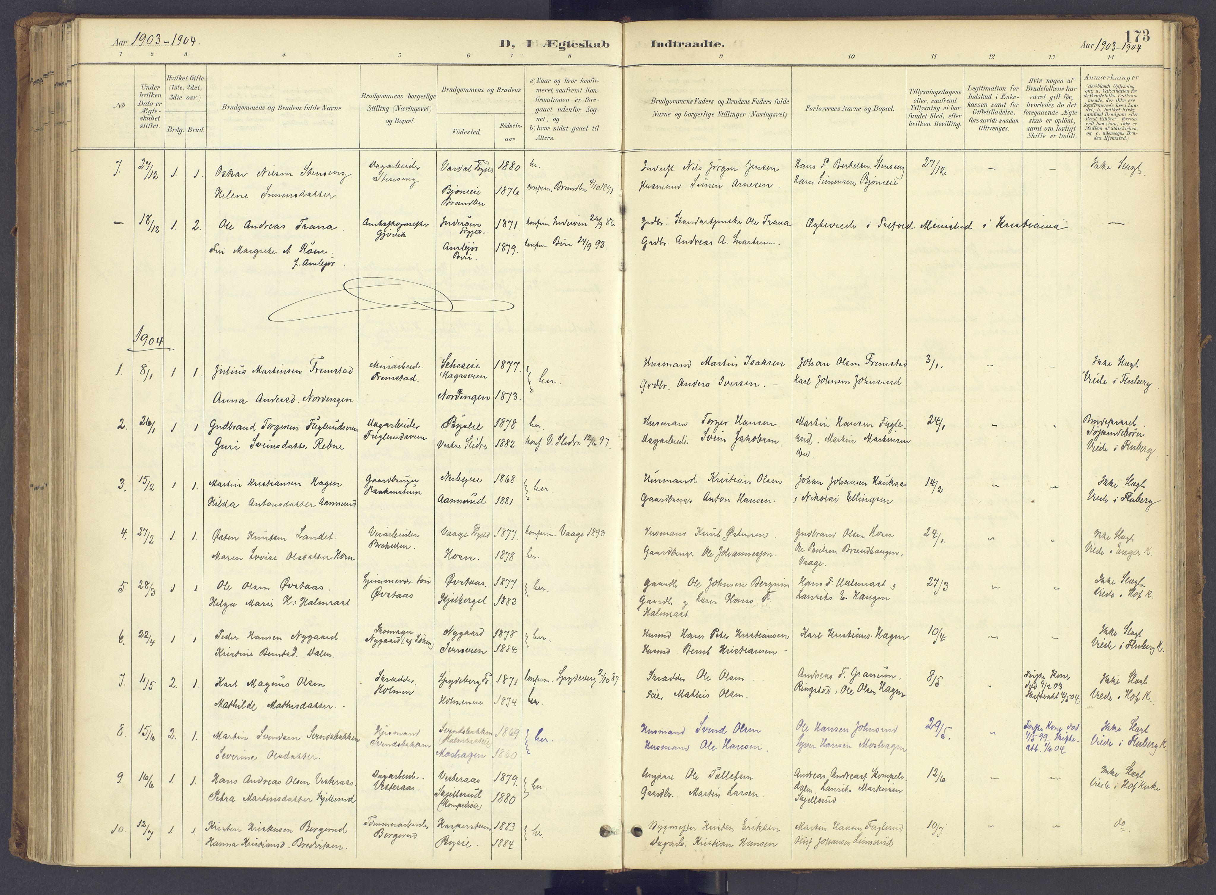 SAH, Søndre Land prestekontor, K/L0006: Ministerialbok nr. 6, 1895-1904, s. 173