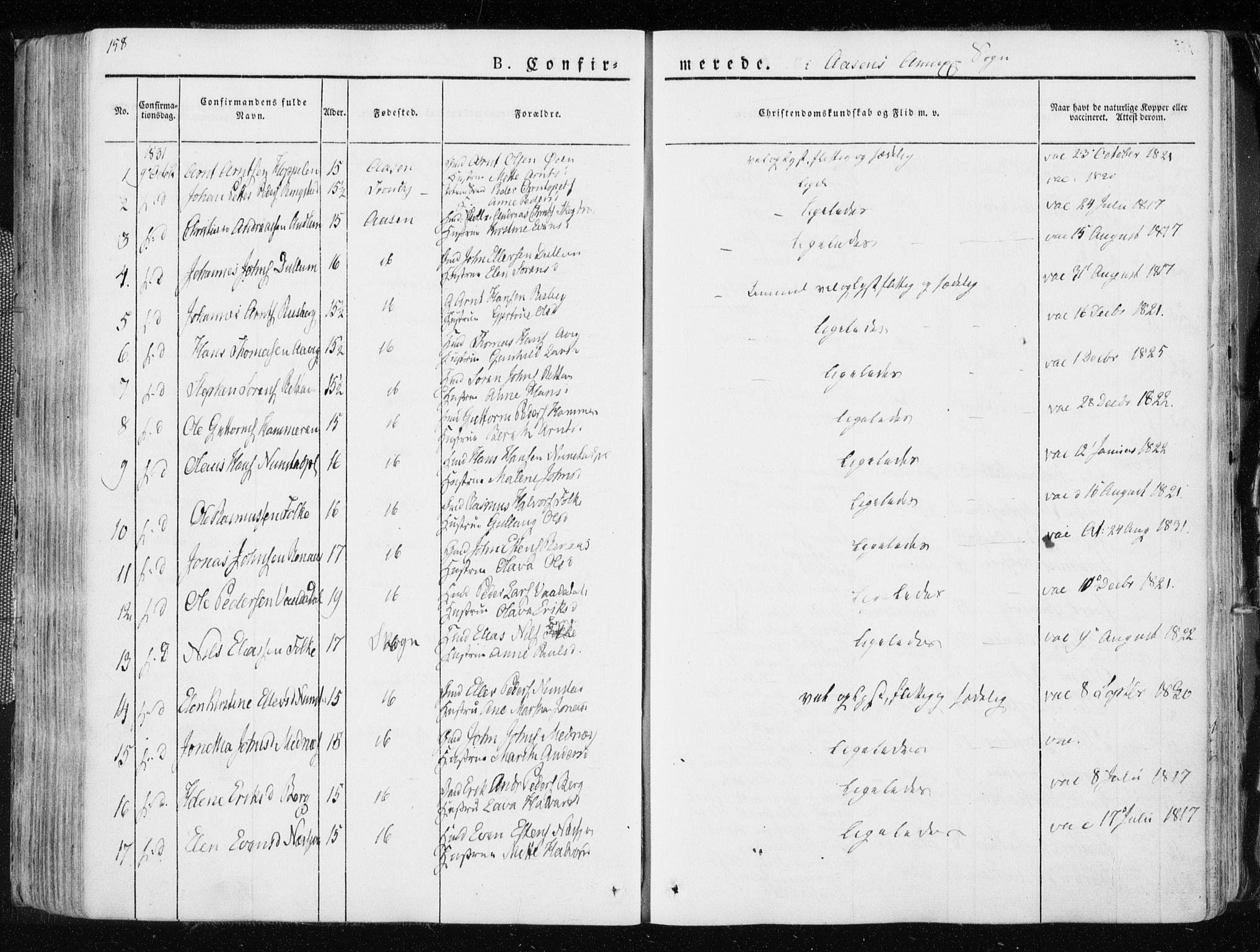 SAT, Ministerialprotokoller, klokkerbøker og fødselsregistre - Nord-Trøndelag, 713/L0114: Ministerialbok nr. 713A05, 1827-1839, s. 158
