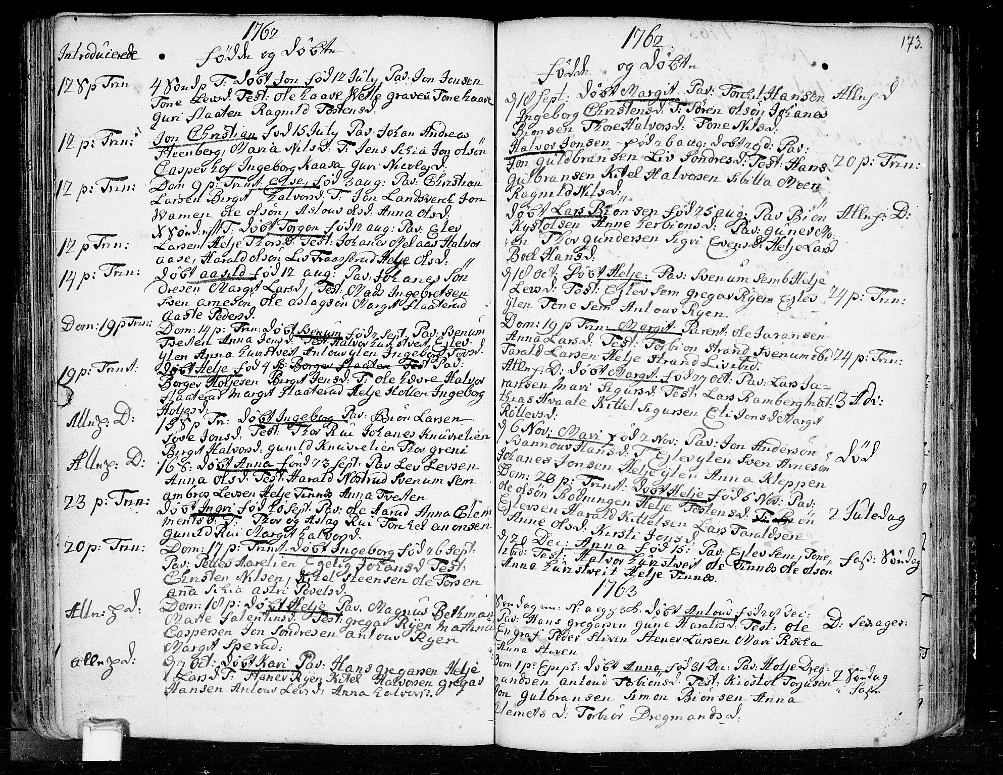 SAKO, Heddal kirkebøker, F/Fa/L0003: Ministerialbok nr. I 3, 1723-1783, s. 173