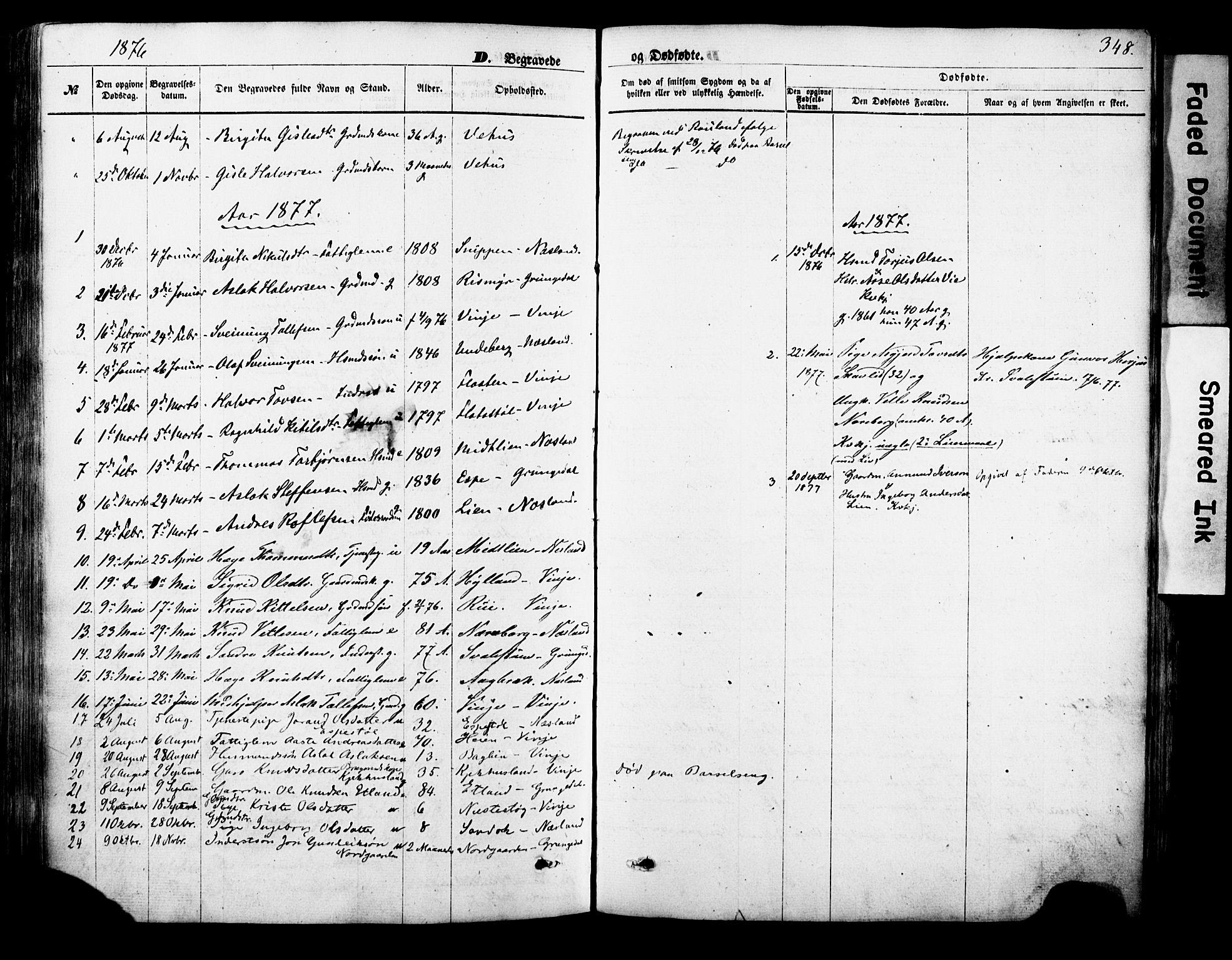 SAKO, Vinje kirkebøker, F/Fa/L0005: Ministerialbok nr. I 5, 1870-1886, s. 348