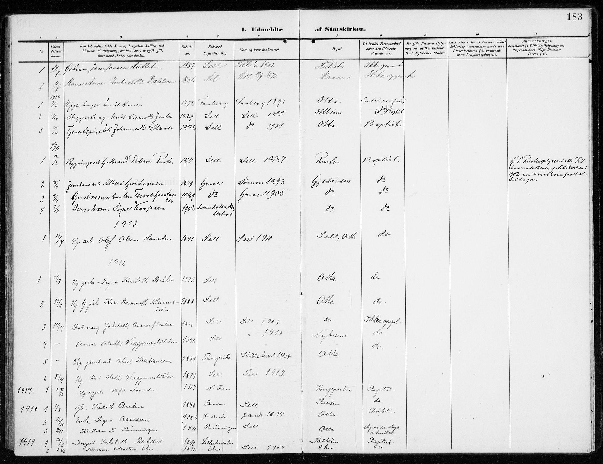 SAH, Sel prestekontor, Ministerialbok nr. 2, 1905-1919, s. 183
