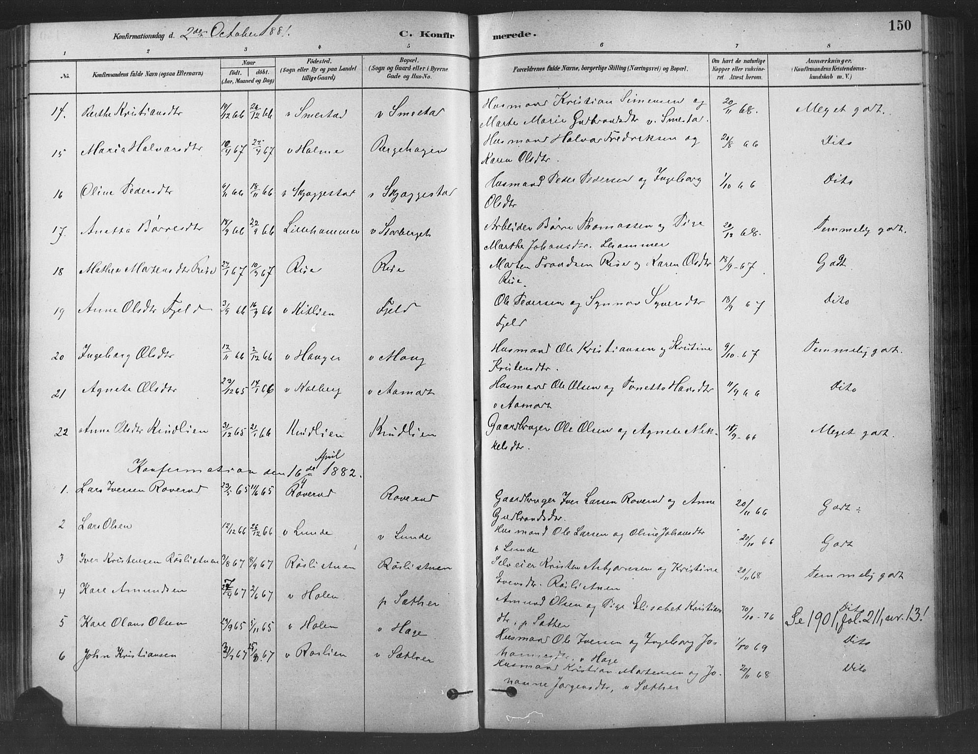 SAH, Fåberg prestekontor, Ministerialbok nr. 9, 1879-1898, s. 150