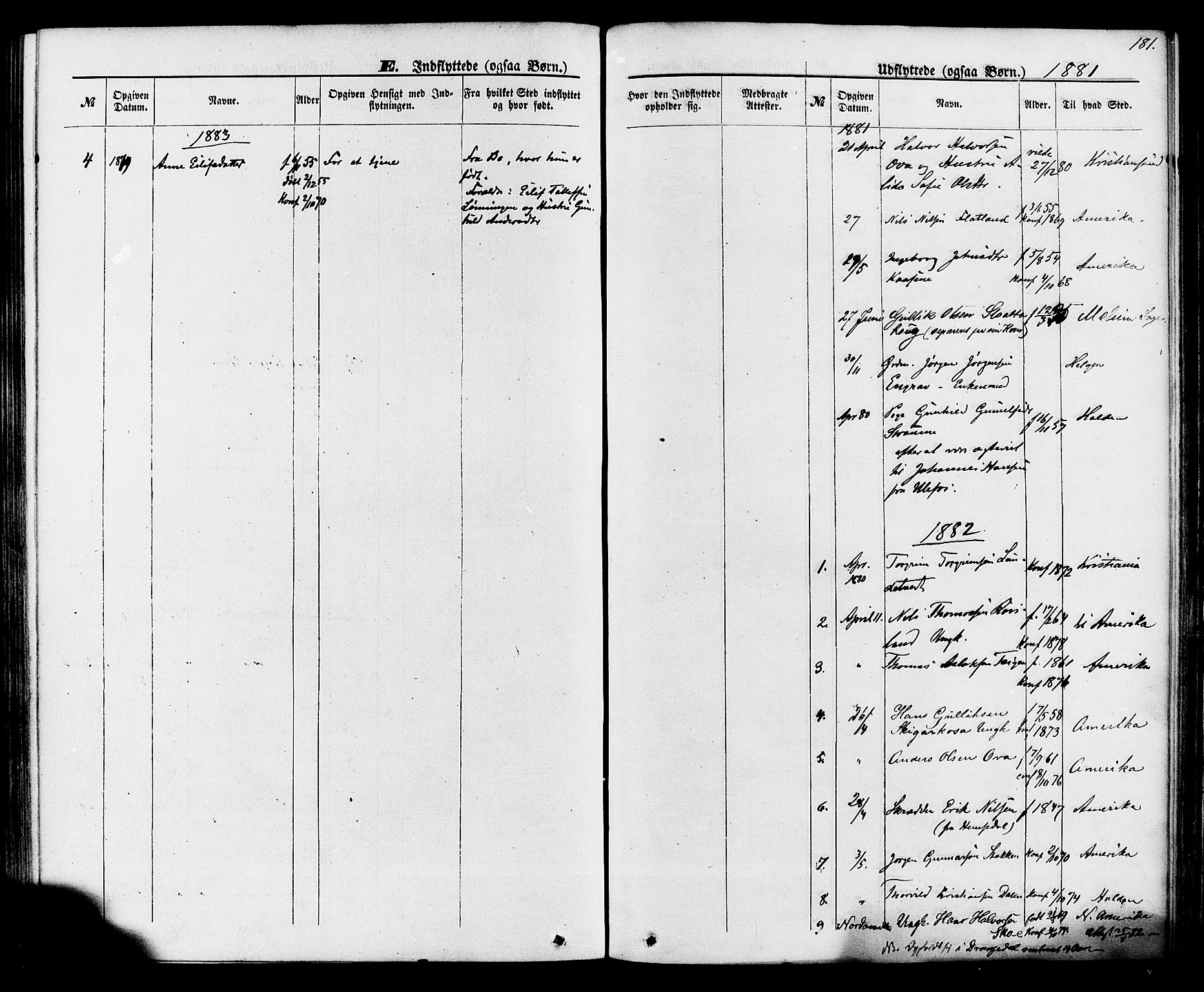 SAKO, Lunde kirkebøker, F/Fa/L0001: Ministerialbok nr. I 1, 1866-1883, s. 181