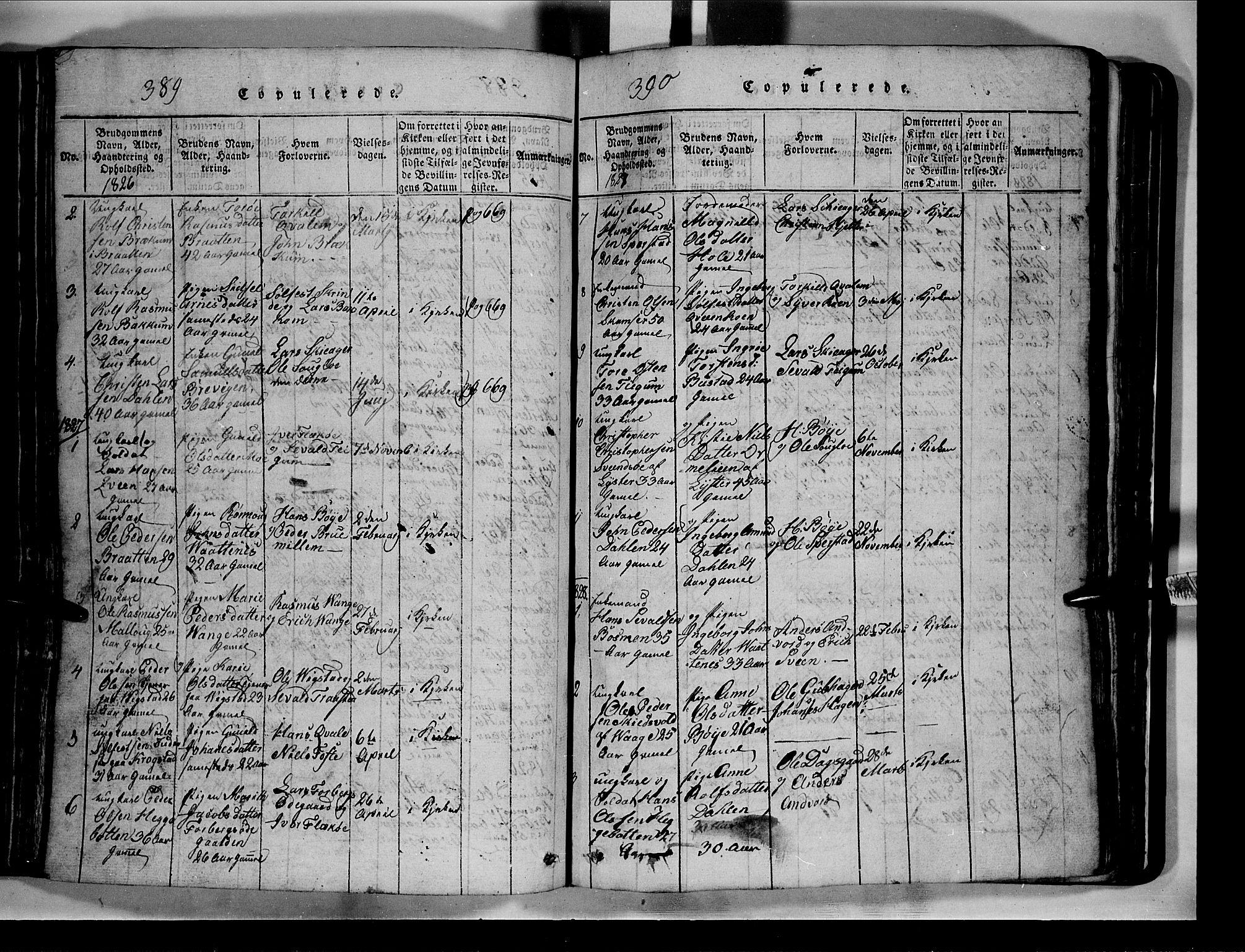 SAH, Lom prestekontor, L/L0003: Klokkerbok nr. 3, 1815-1844, s. 389-390