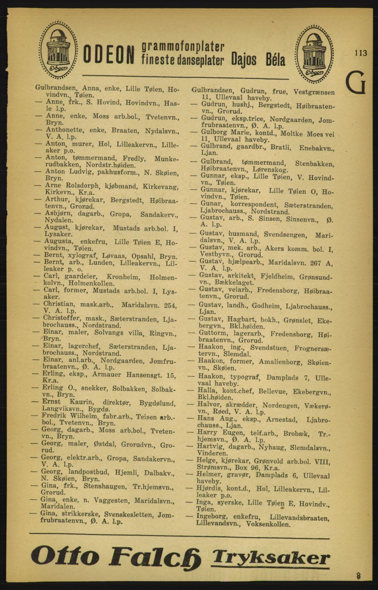 PUBL, Aker adressebok/adressekalender, 1924-1925, s. 113