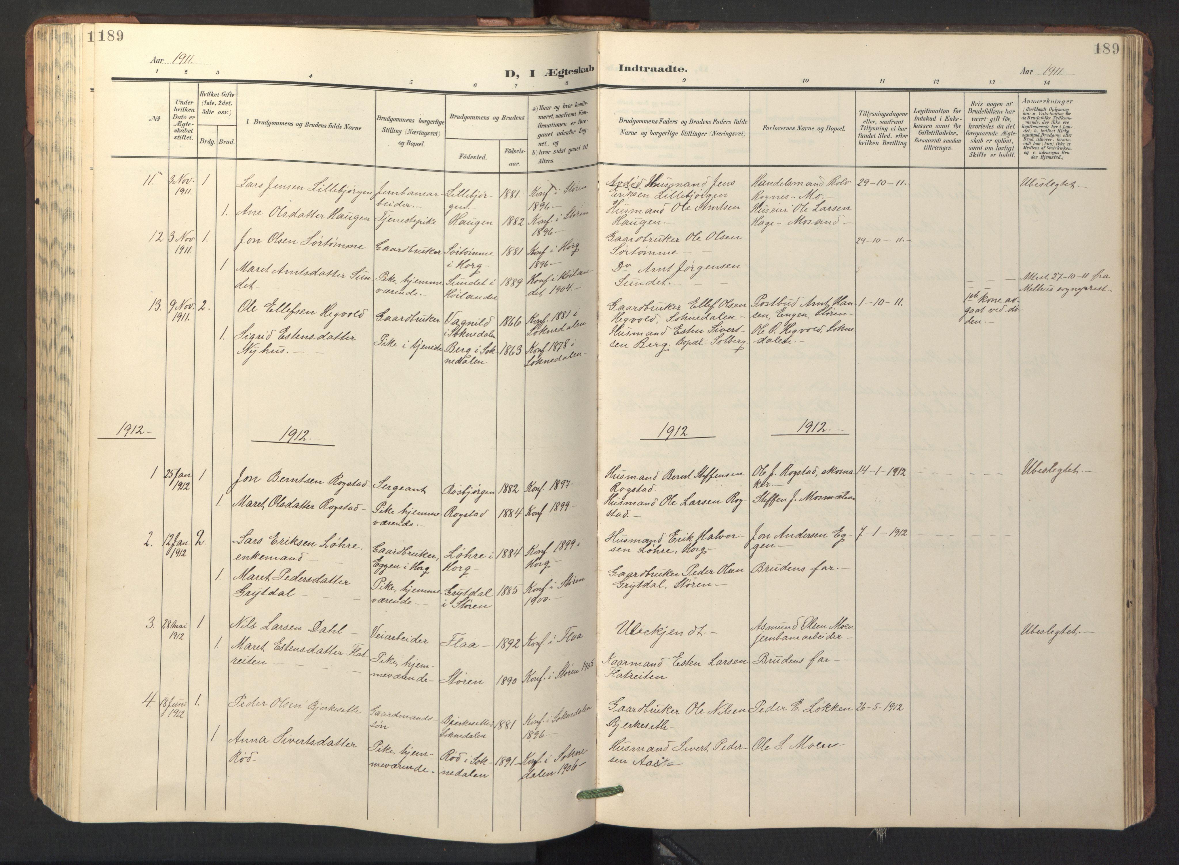 SAT, Ministerialprotokoller, klokkerbøker og fødselsregistre - Sør-Trøndelag, 687/L1019: Klokkerbok nr. 687C03, 1904-1931, s. 189
