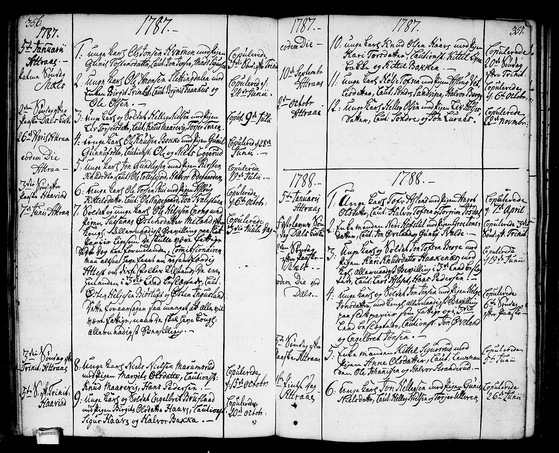 SAKO, Tinn kirkebøker, F/Fa/L0002: Ministerialbok nr. I 2, 1757-1810, s. 356-357