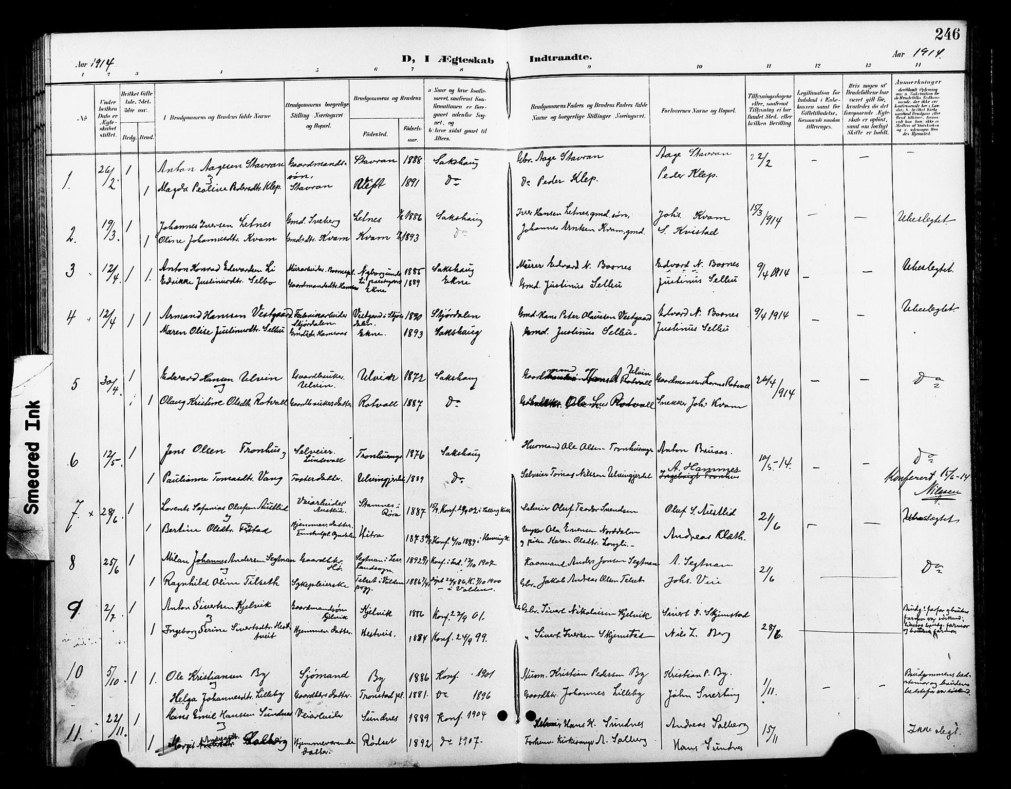 SAT, Ministerialprotokoller, klokkerbøker og fødselsregistre - Nord-Trøndelag, 730/L0302: Klokkerbok nr. 730C05, 1898-1924, s. 246