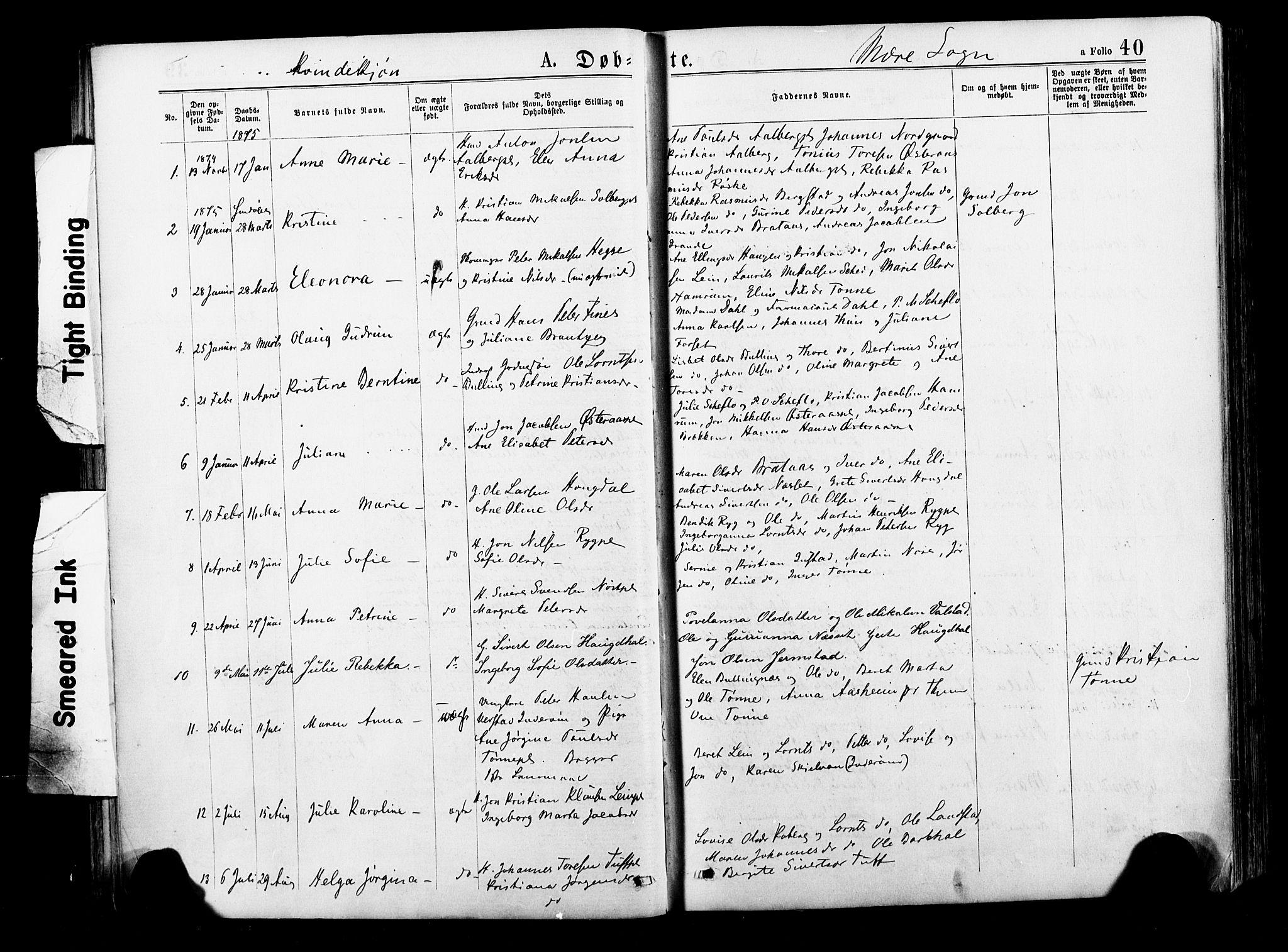 SAT, Ministerialprotokoller, klokkerbøker og fødselsregistre - Nord-Trøndelag, 735/L0348: Ministerialbok nr. 735A09 /1, 1873-1883, s. 40