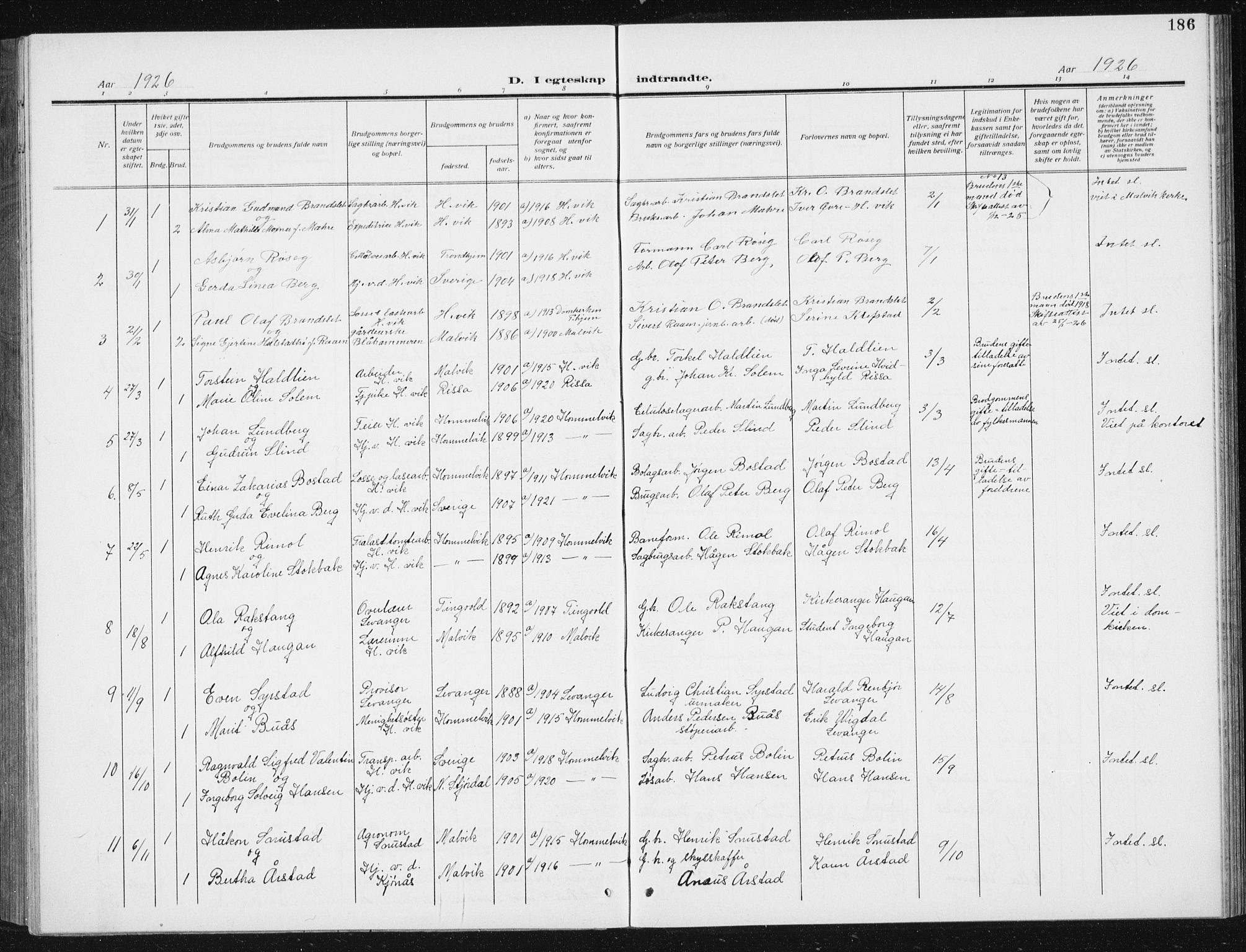 SAT, Ministerialprotokoller, klokkerbøker og fødselsregistre - Sør-Trøndelag, 617/L0431: Klokkerbok nr. 617C02, 1910-1936, s. 186
