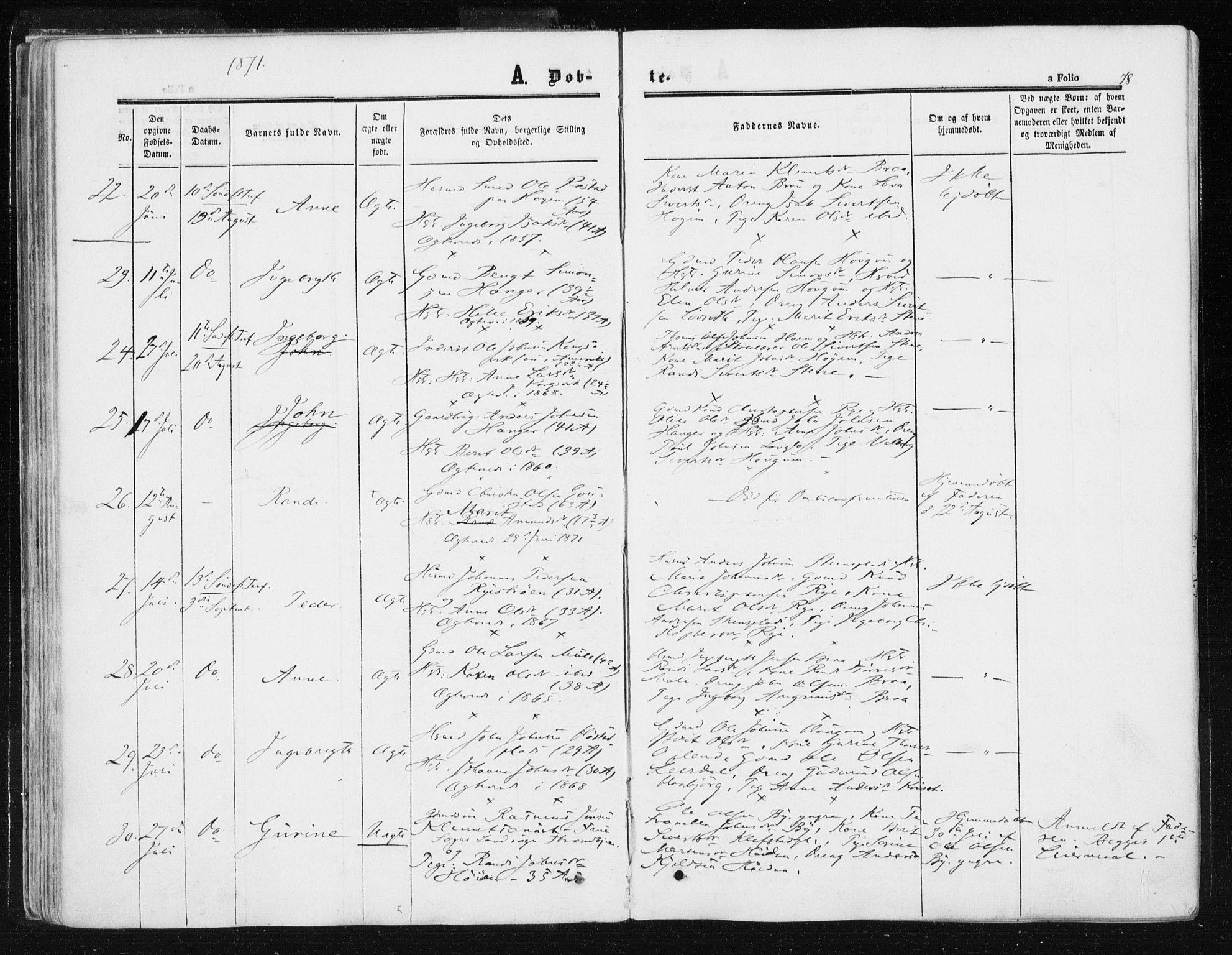 SAT, Ministerialprotokoller, klokkerbøker og fødselsregistre - Sør-Trøndelag, 612/L0377: Ministerialbok nr. 612A09, 1859-1877, s. 78