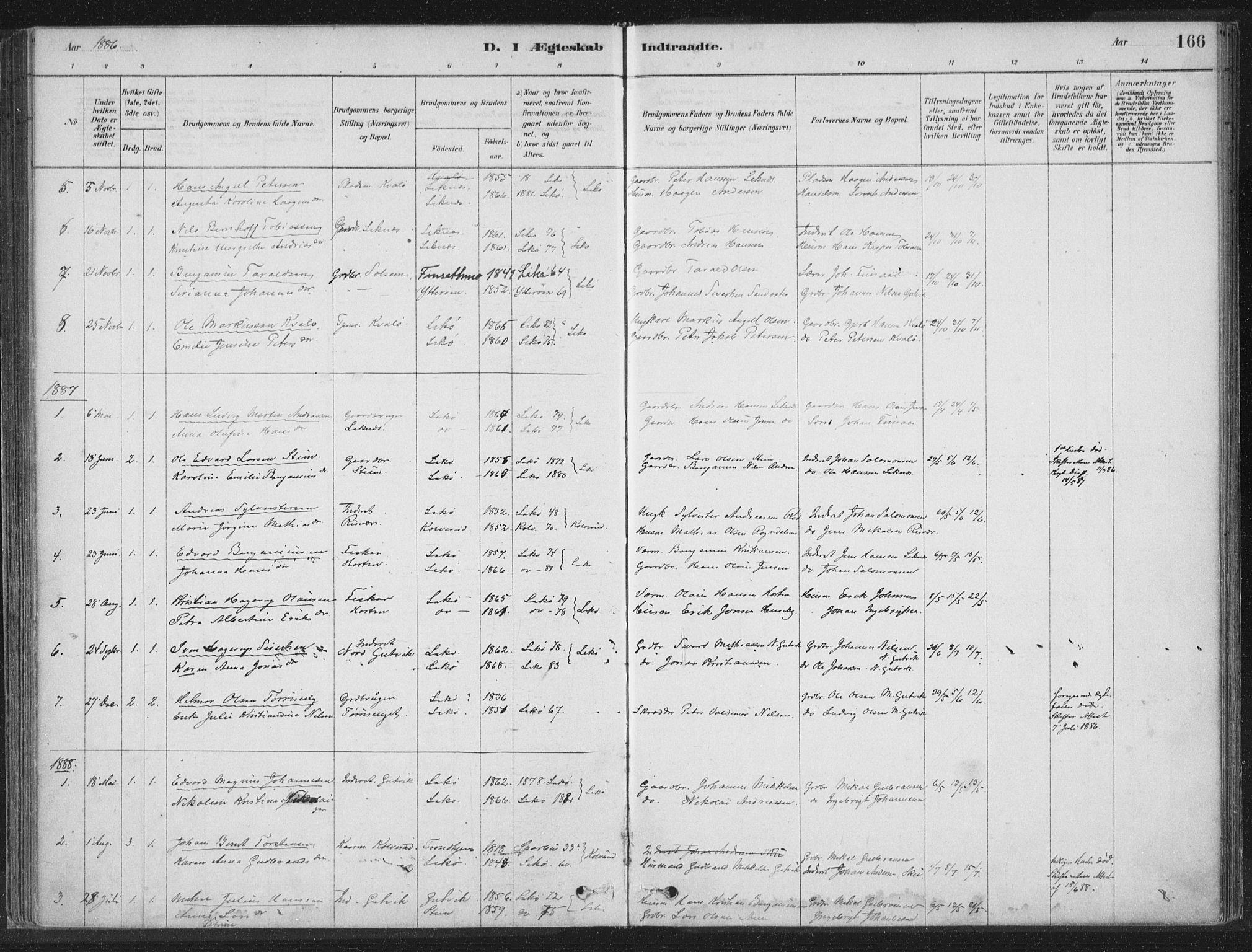 SAT, Ministerialprotokoller, klokkerbøker og fødselsregistre - Nord-Trøndelag, 788/L0697: Ministerialbok nr. 788A04, 1878-1902, s. 166