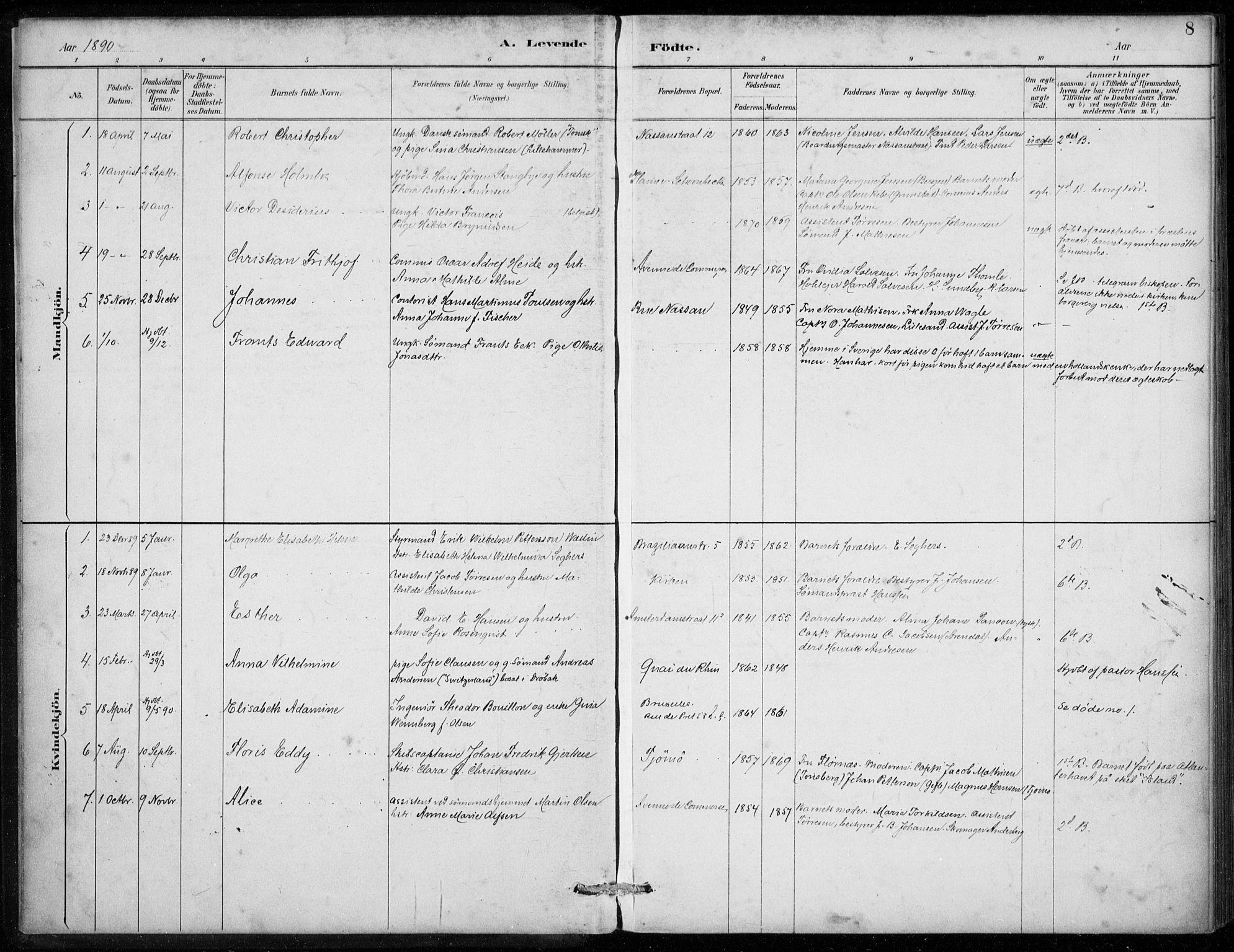 SAB, Den Norske Sjømannsmisjon i utlandet*, Ministerialbok nr. A 2, 1887-1913, s. 8