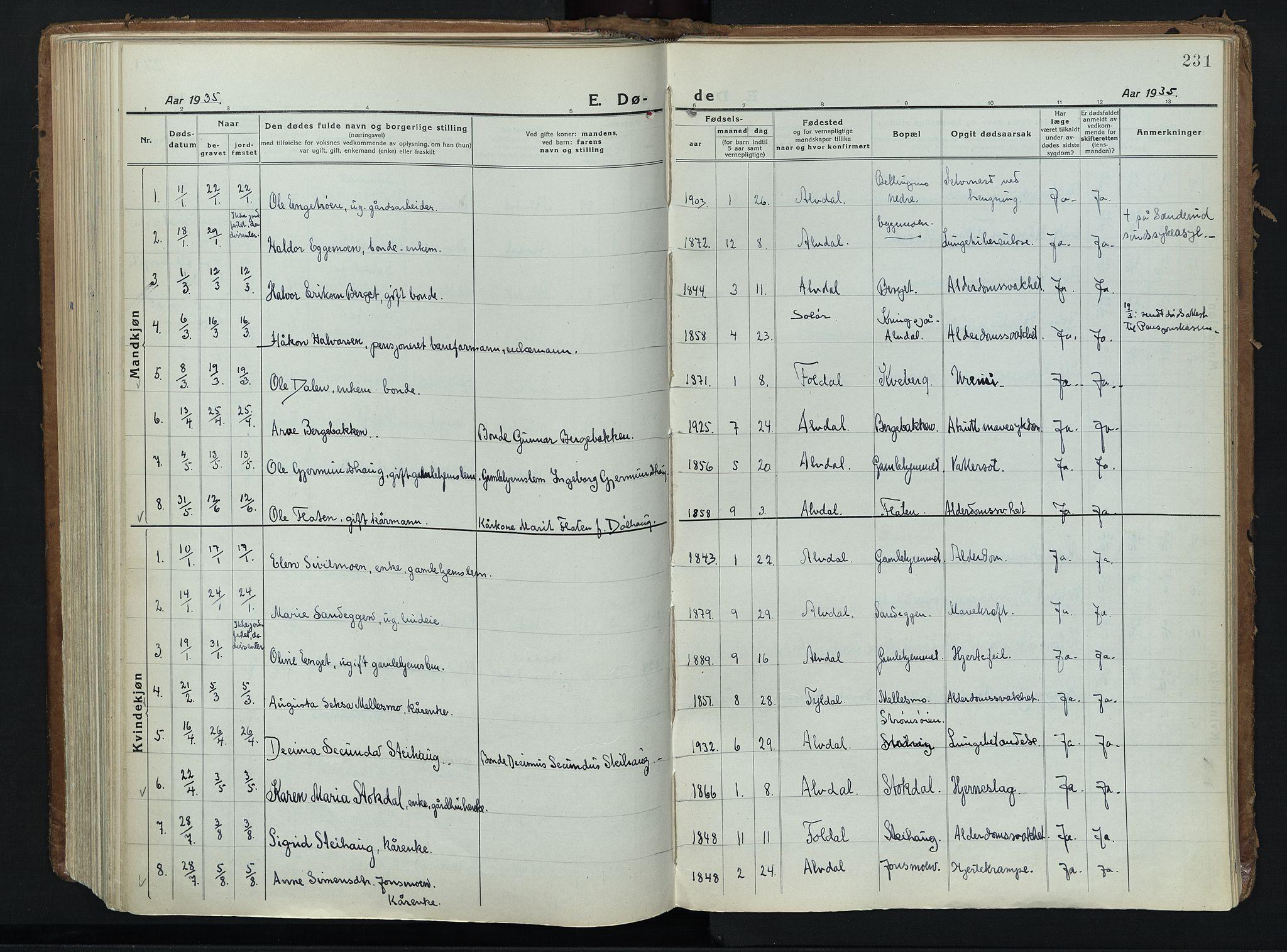 SAH, Alvdal prestekontor, Ministerialbok nr. 6, 1920-1937, s. 231