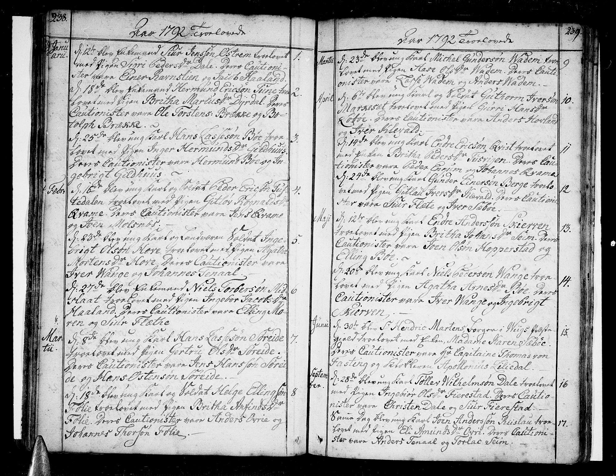 SAB, Vik Sokneprestembete, Ministerialbok nr. A 5, 1787-1820, s. 238-239