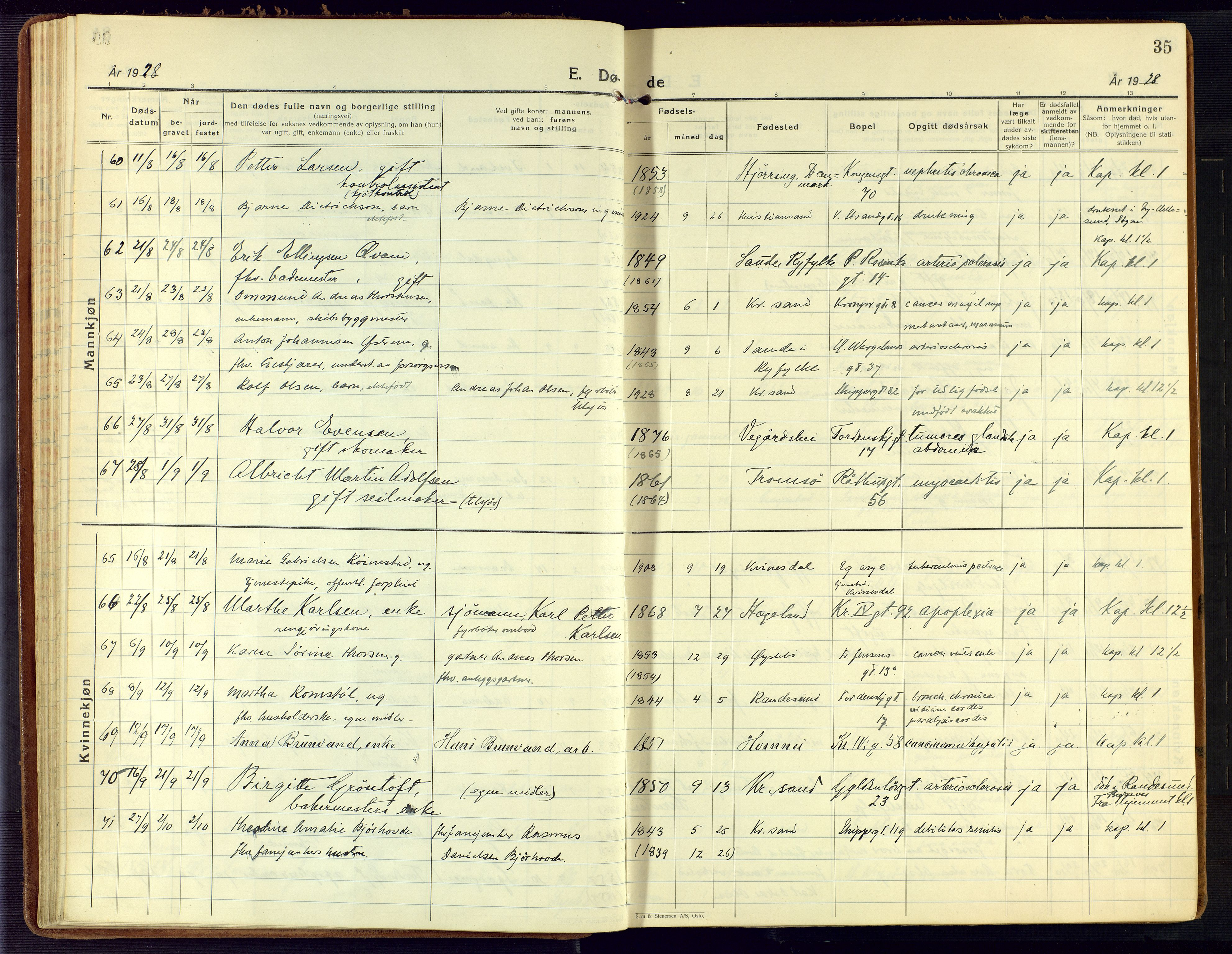 SAK, Kristiansand domprosti, F/Fa/L0030: Ministerialbok nr. A 29, 1926-1937, s. 35