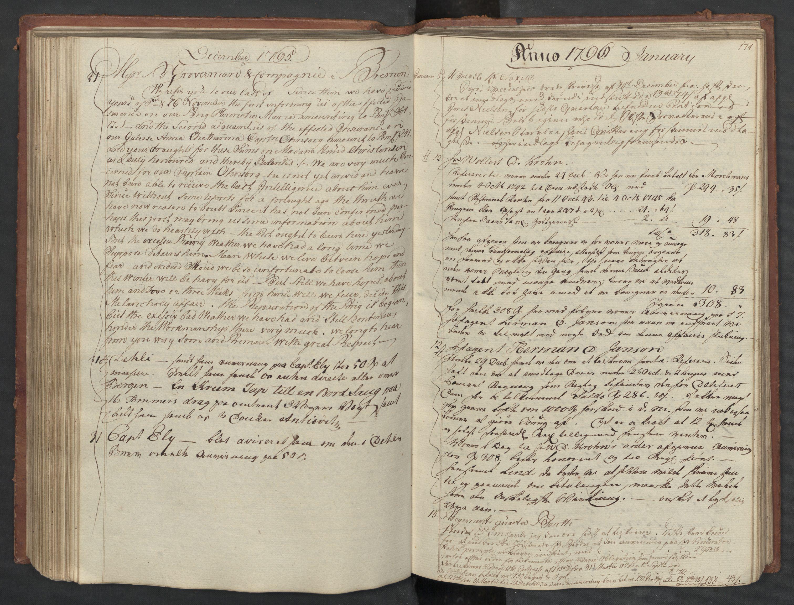 SAST, Pa 0003 - Ploug & Sundt, handelshuset, B/L0007: Kopibok, 1793-1797, s. 173b-174a