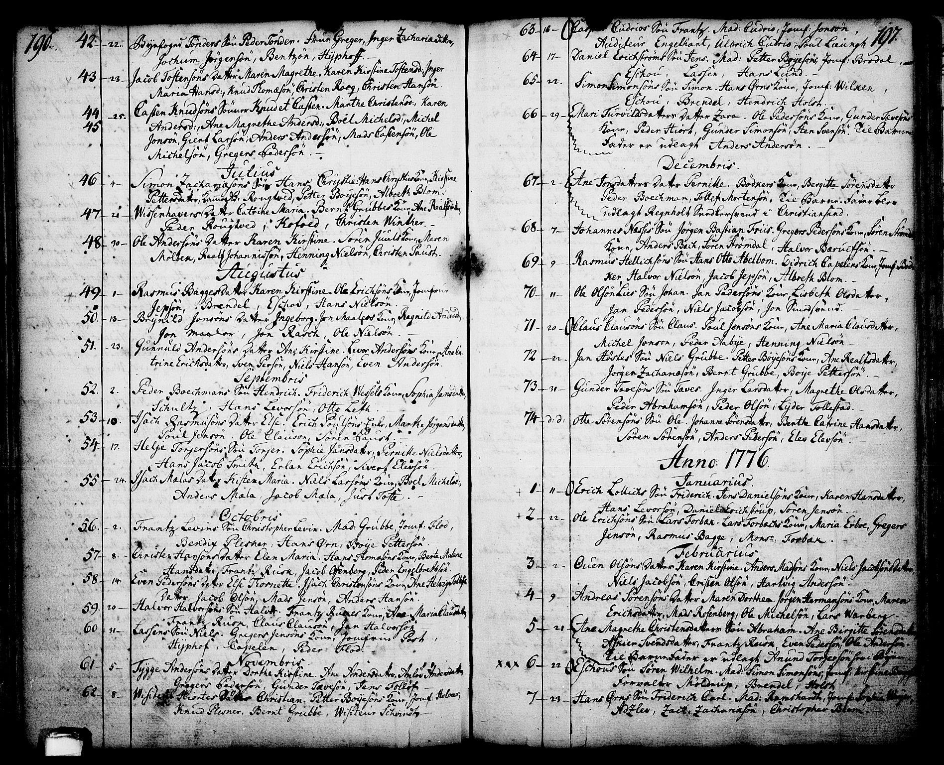 SAKO, Skien kirkebøker, F/Fa/L0003: Ministerialbok nr. 3, 1755-1791, s. 196-197