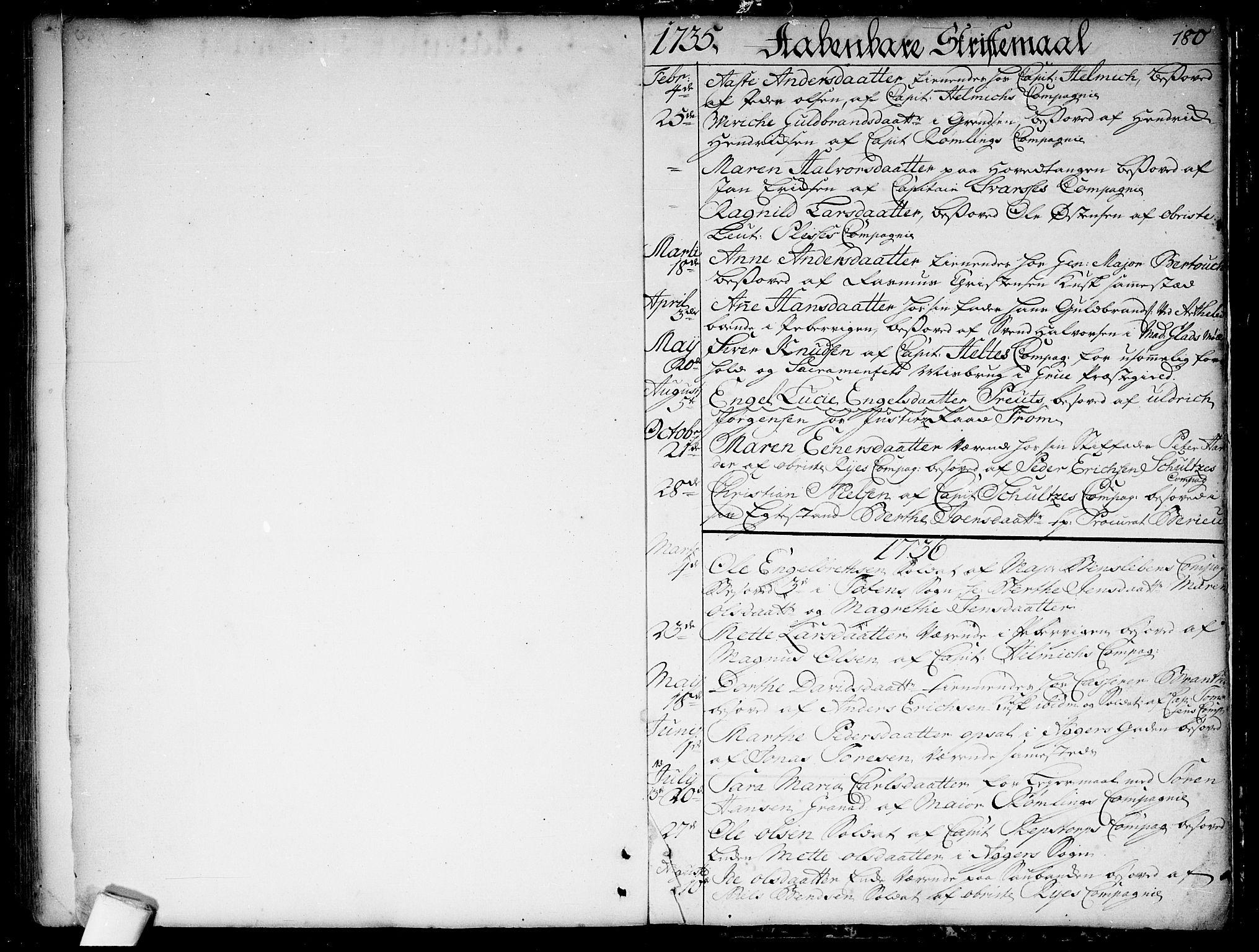 SAO, Garnisonsmenigheten Kirkebøker, F/Fa/L0001: Ministerialbok nr. 1, 1734-1756, s. 180