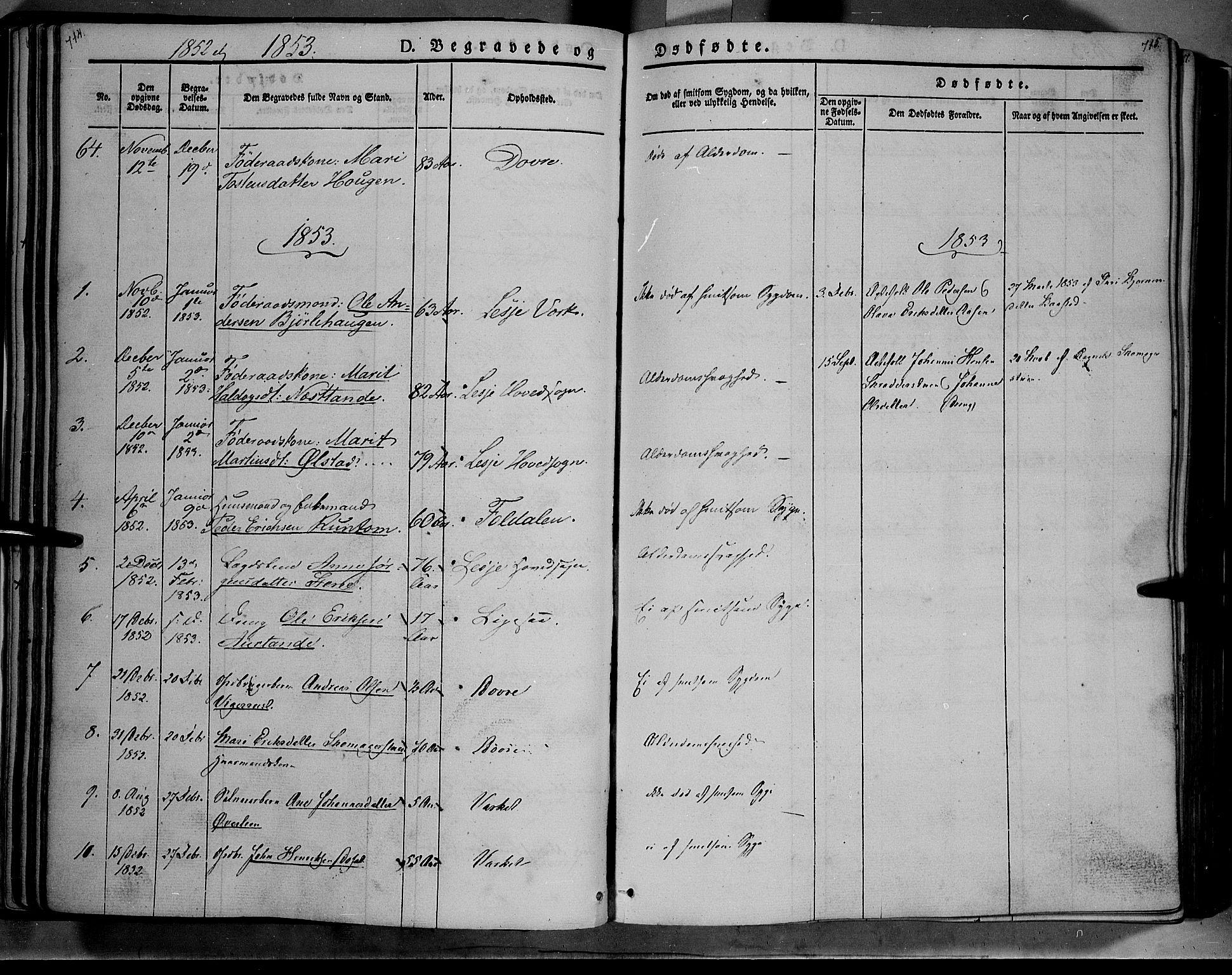 SAH, Lesja prestekontor, Ministerialbok nr. 6B, 1843-1854, s. 714-715