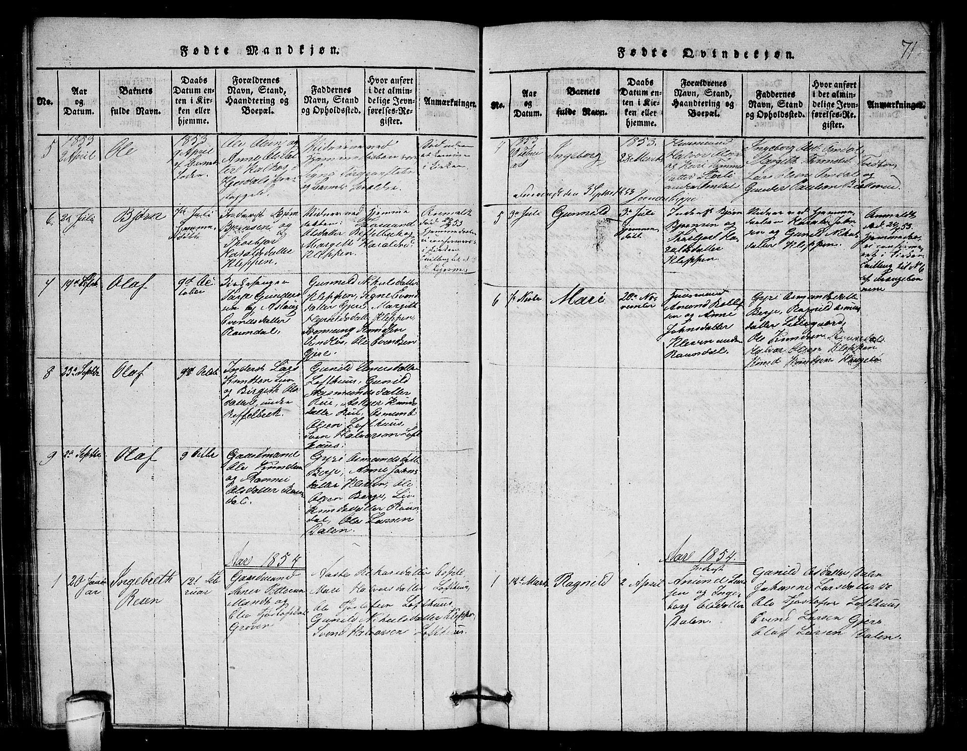 SAKO, Lårdal kirkebøker, G/Gb/L0001: Klokkerbok nr. II 1, 1815-1865, s. 71