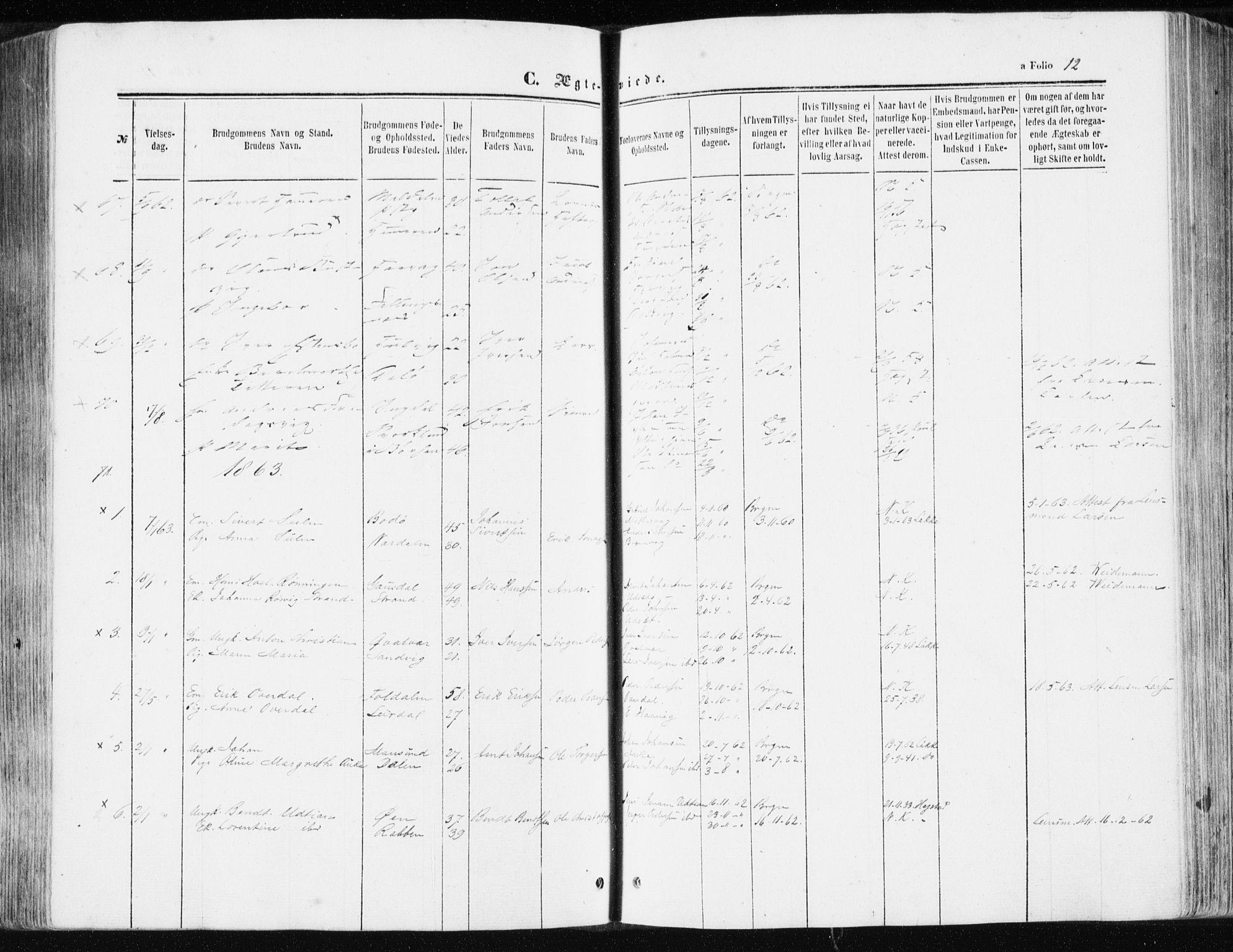 SAT, Ministerialprotokoller, klokkerbøker og fødselsregistre - Sør-Trøndelag, 634/L0531: Ministerialbok nr. 634A07, 1861-1870, s. 12