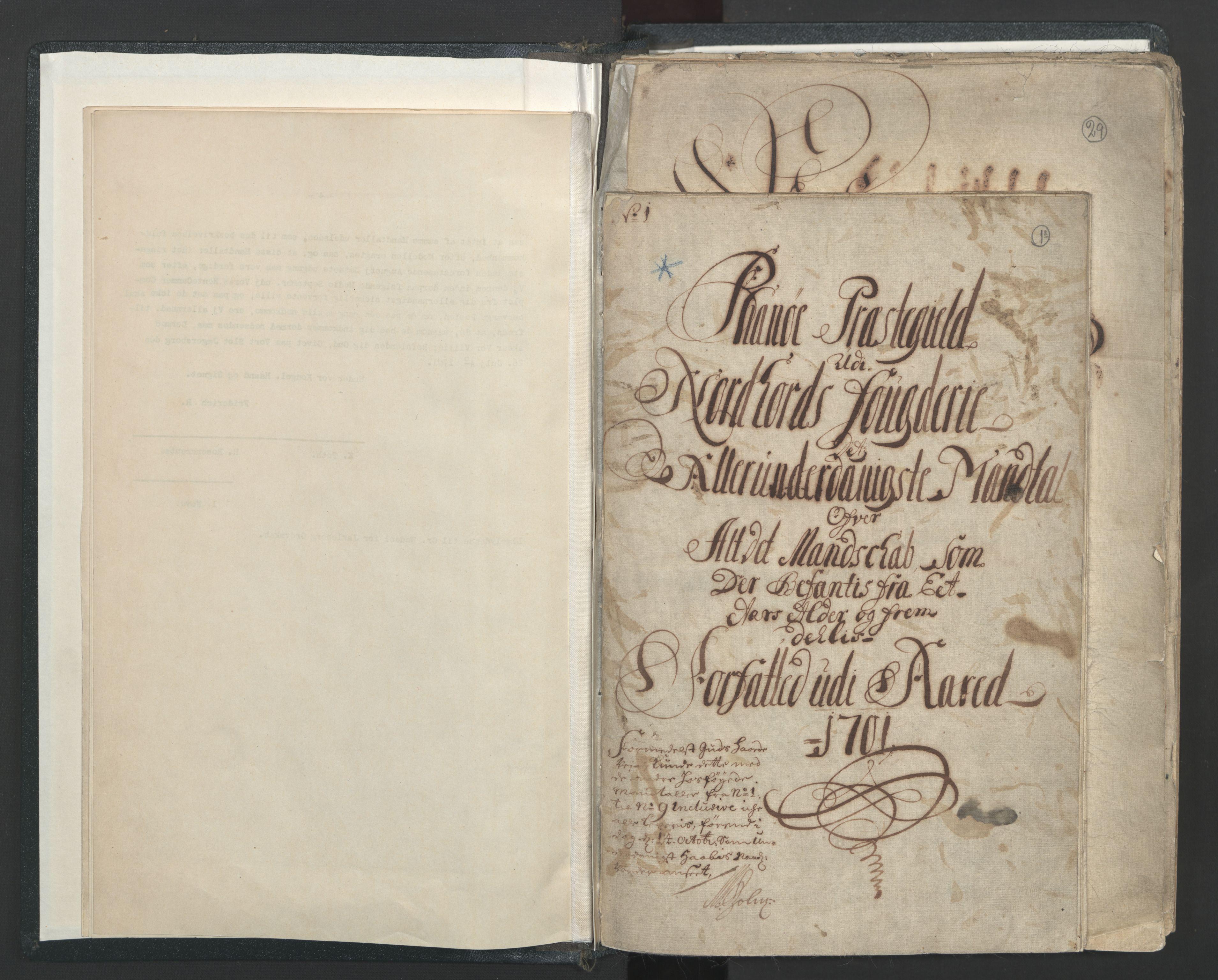 RA, Manntallet 1701, nr. 7: Nordhordland og Voss fogderi, 1701, s. 1