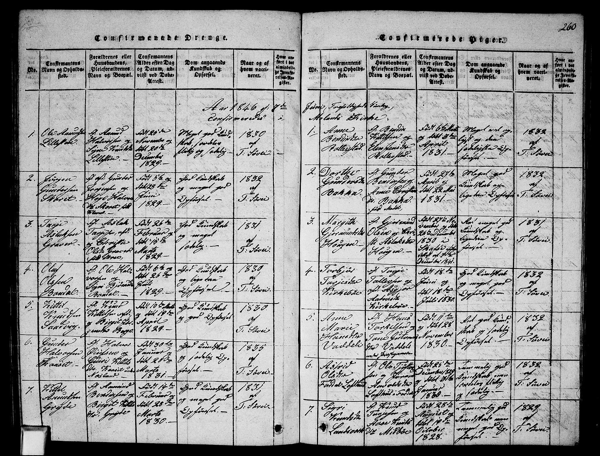 SAKO, Fyresdal kirkebøker, G/Ga/L0002: Klokkerbok nr. I 2, 1815-1857, s. 260