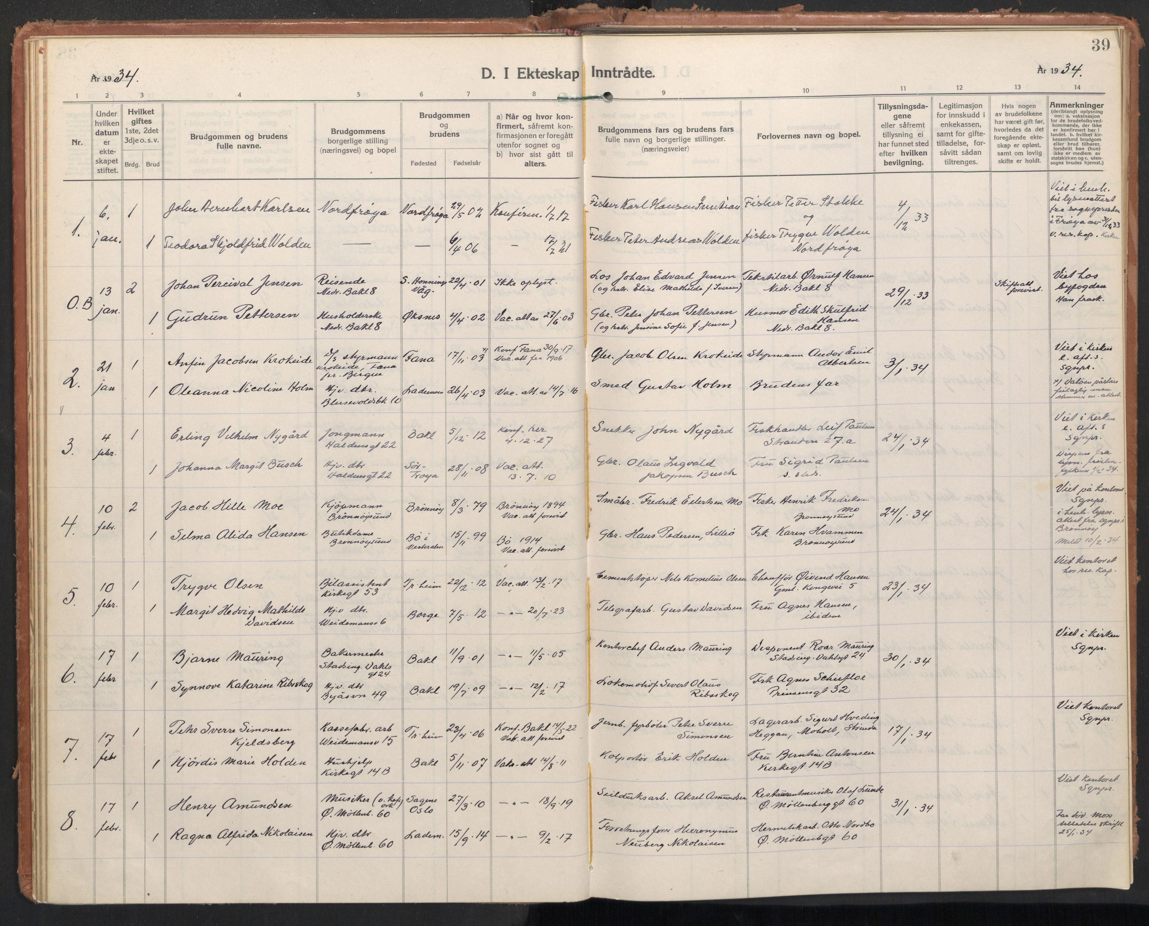 SAT, Ministerialprotokoller, klokkerbøker og fødselsregistre - Sør-Trøndelag, 604/L0209: Ministerialbok nr. 604A29, 1931-1945, s. 39