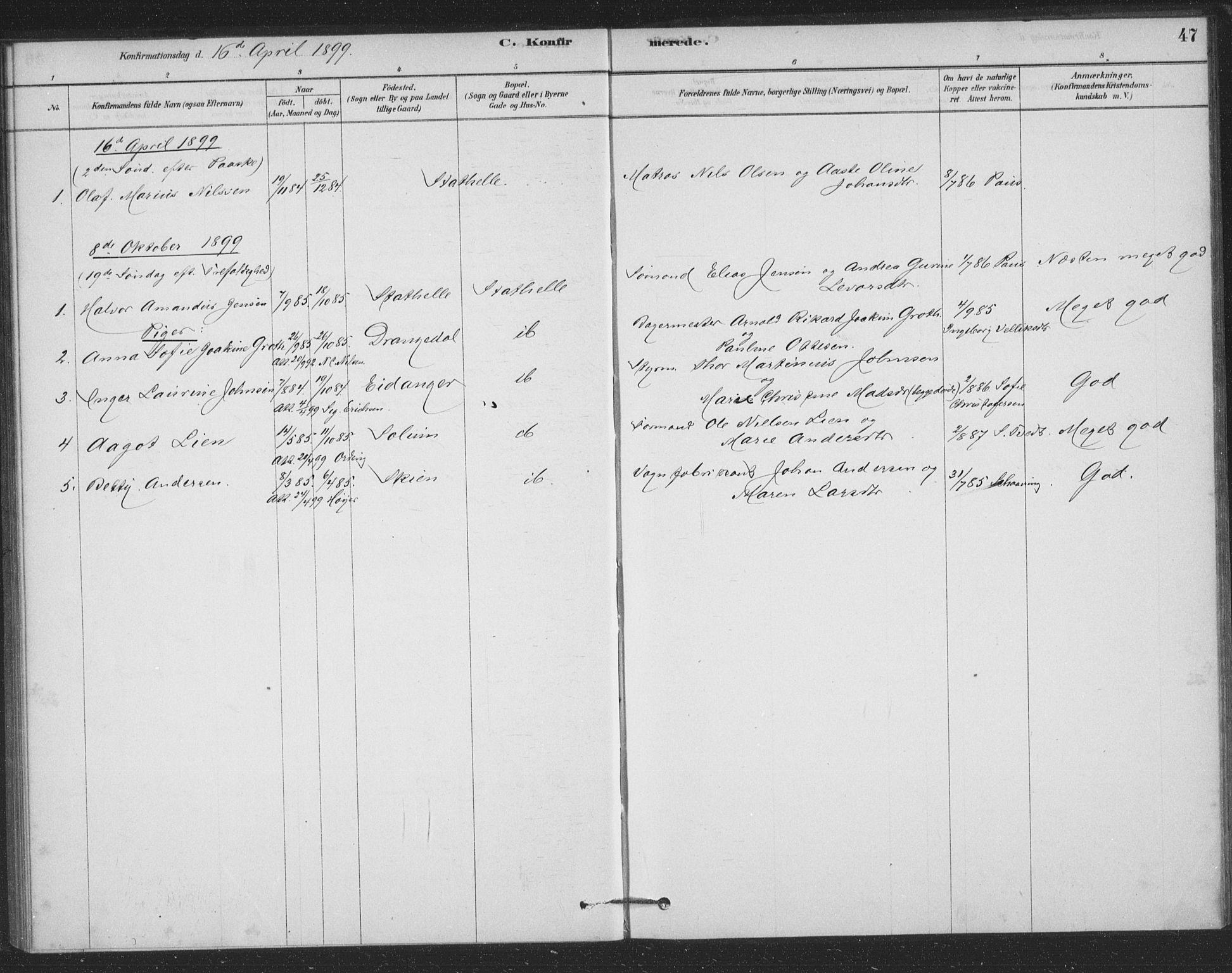 SAKO, Bamble kirkebøker, F/Fb/L0001: Ministerialbok nr. II 1, 1878-1899, s. 47