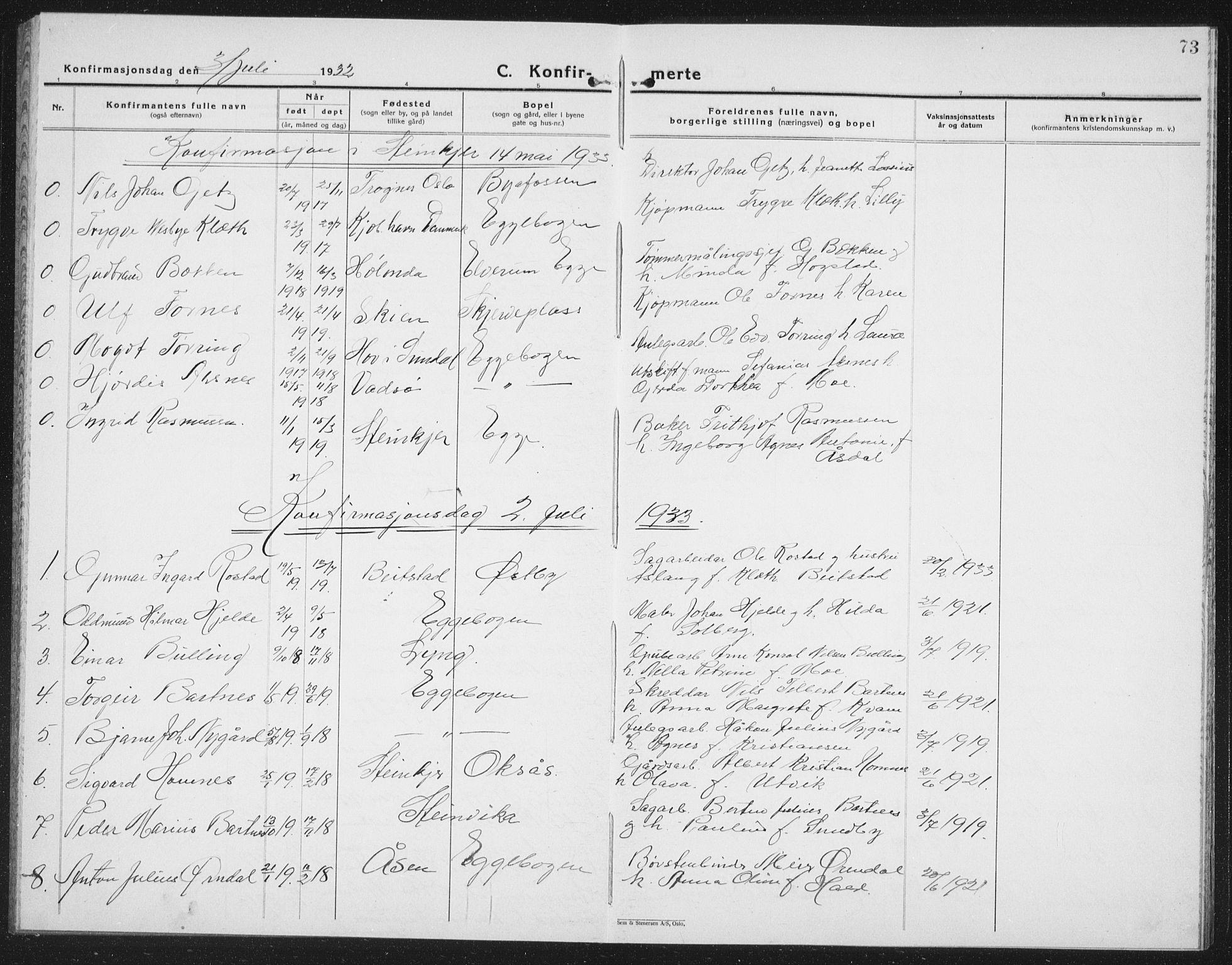 SAT, Ministerialprotokoller, klokkerbøker og fødselsregistre - Nord-Trøndelag, 740/L0383: Klokkerbok nr. 740C04, 1927-1939, s. 73